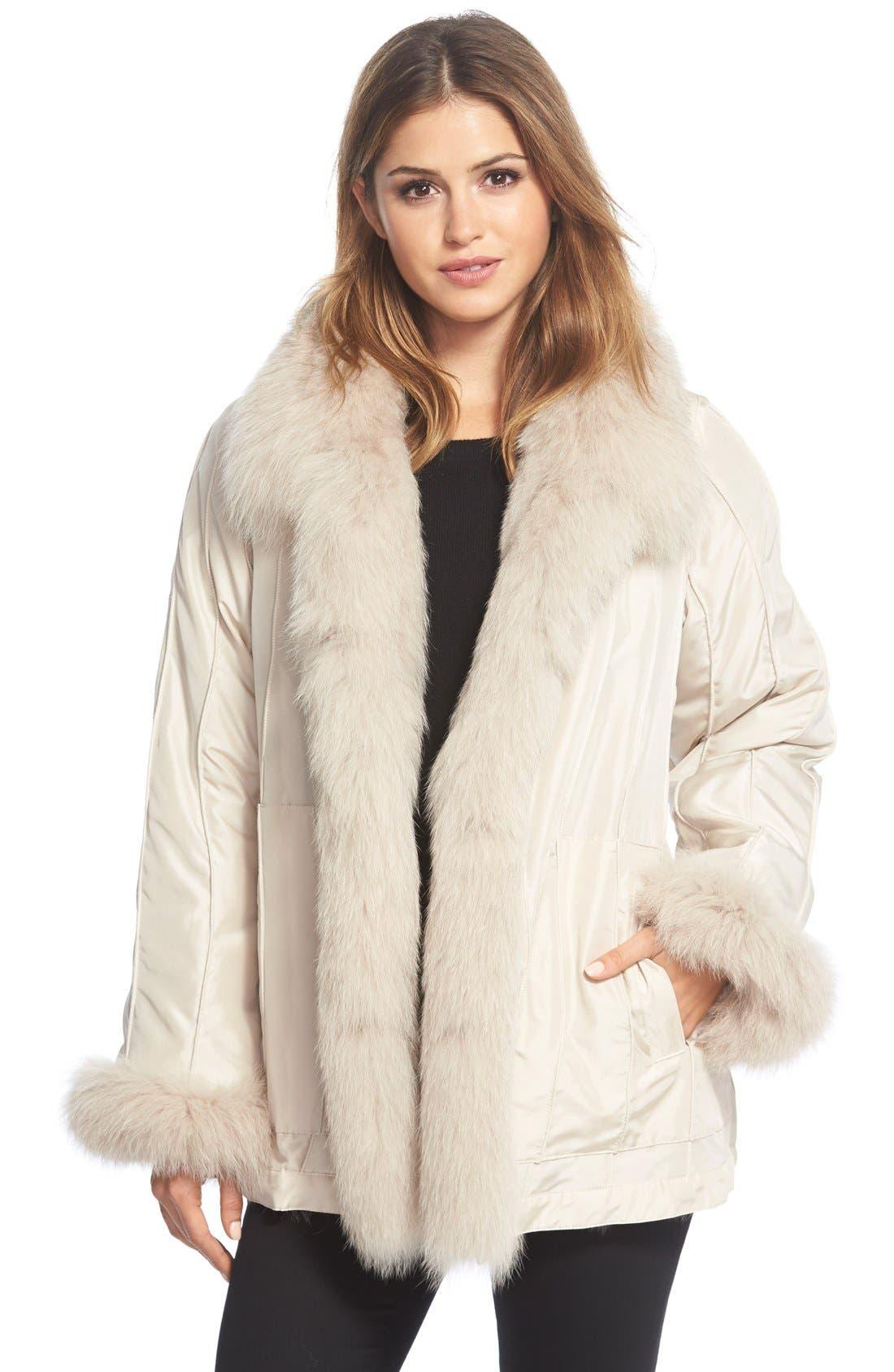 GeorgeSimonton Reversible Silk & Genuine Fox Fur Topper,                             Alternate thumbnail 20, color,