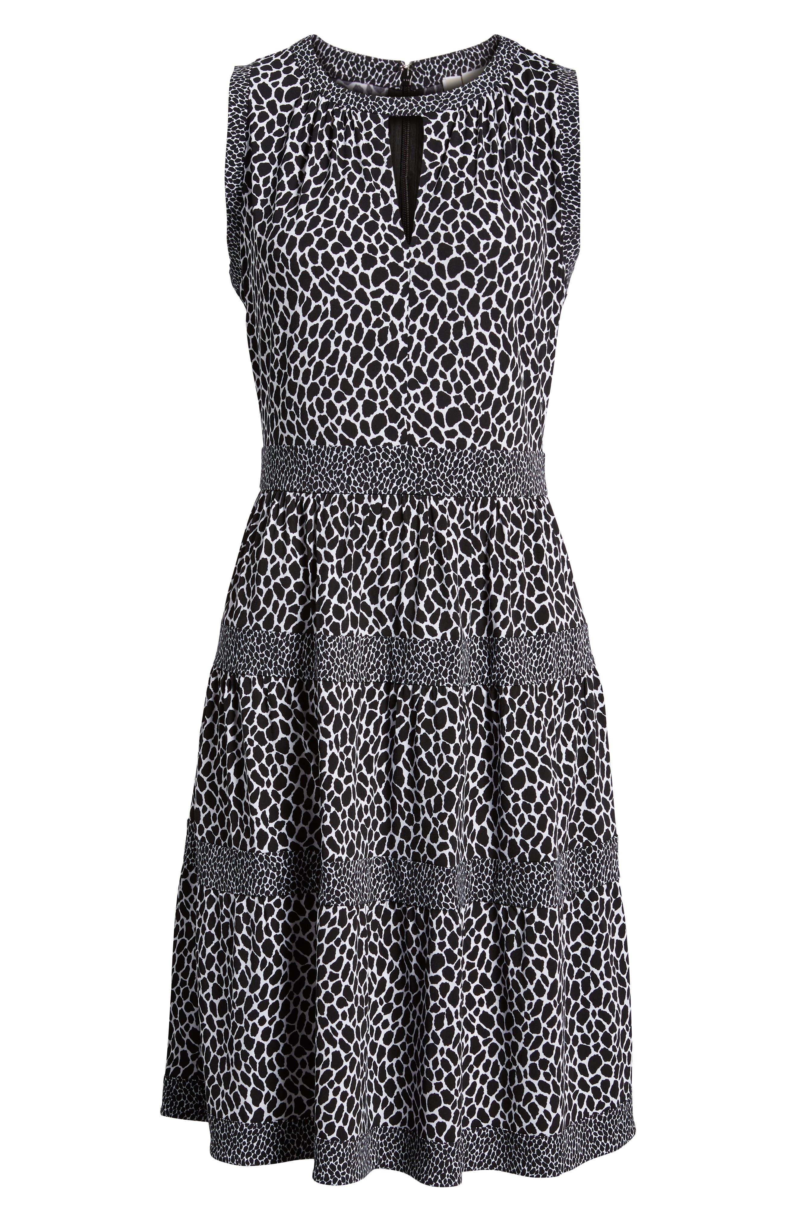 Sleeveless Leopard Border Fit & Flare Dress,                             Alternate thumbnail 7, color,