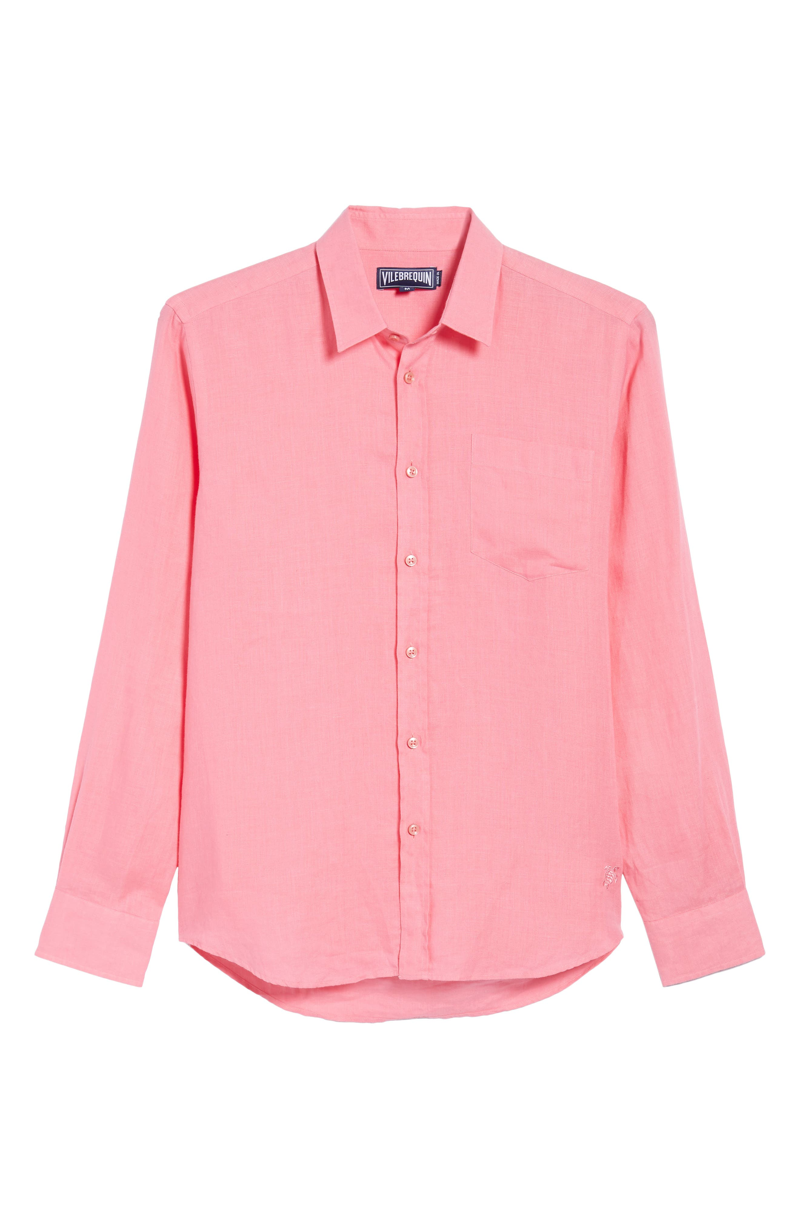 Caroubie Regular Fit Linen Sport Shirt,                             Alternate thumbnail 6, color,                             LOTUS