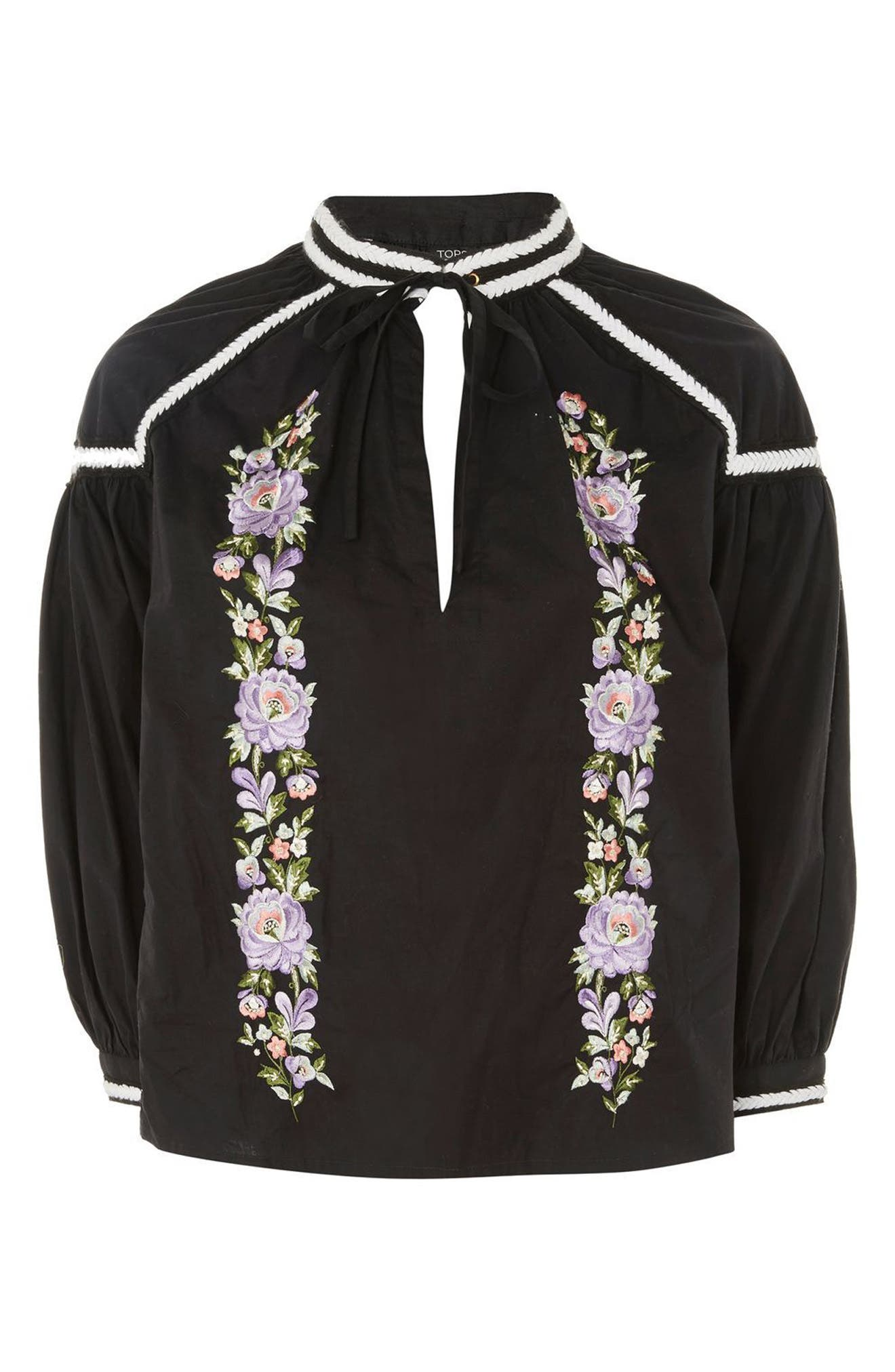 Embroidered Poplin Tie Neck Top,                             Alternate thumbnail 4, color,                             001