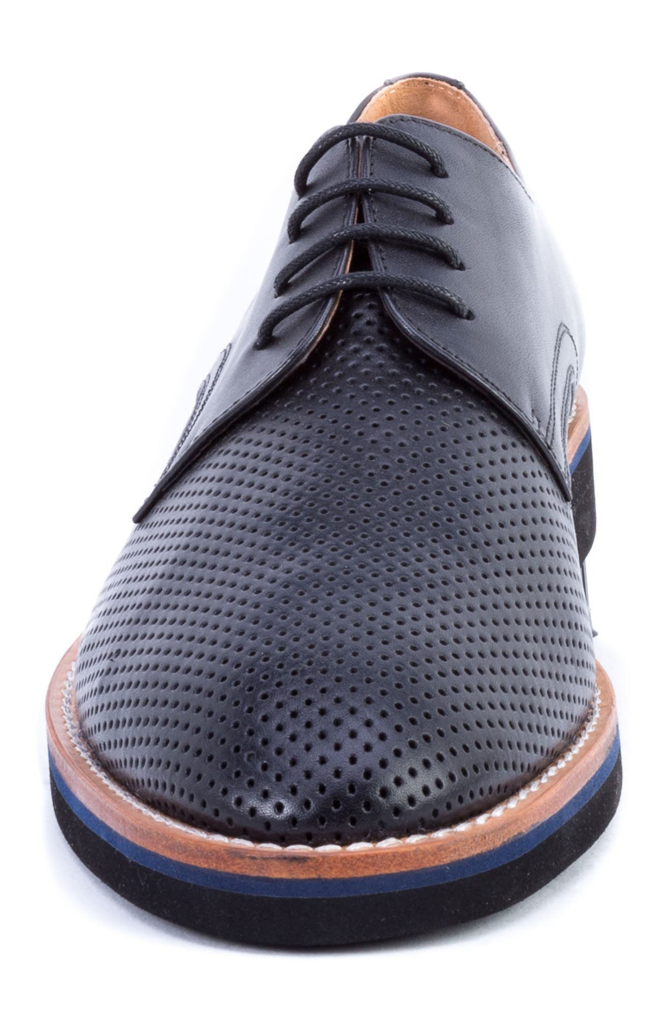 Hartung Perforated Plain Toe Derby,                             Alternate thumbnail 4, color,                             BLACK LEATHER
