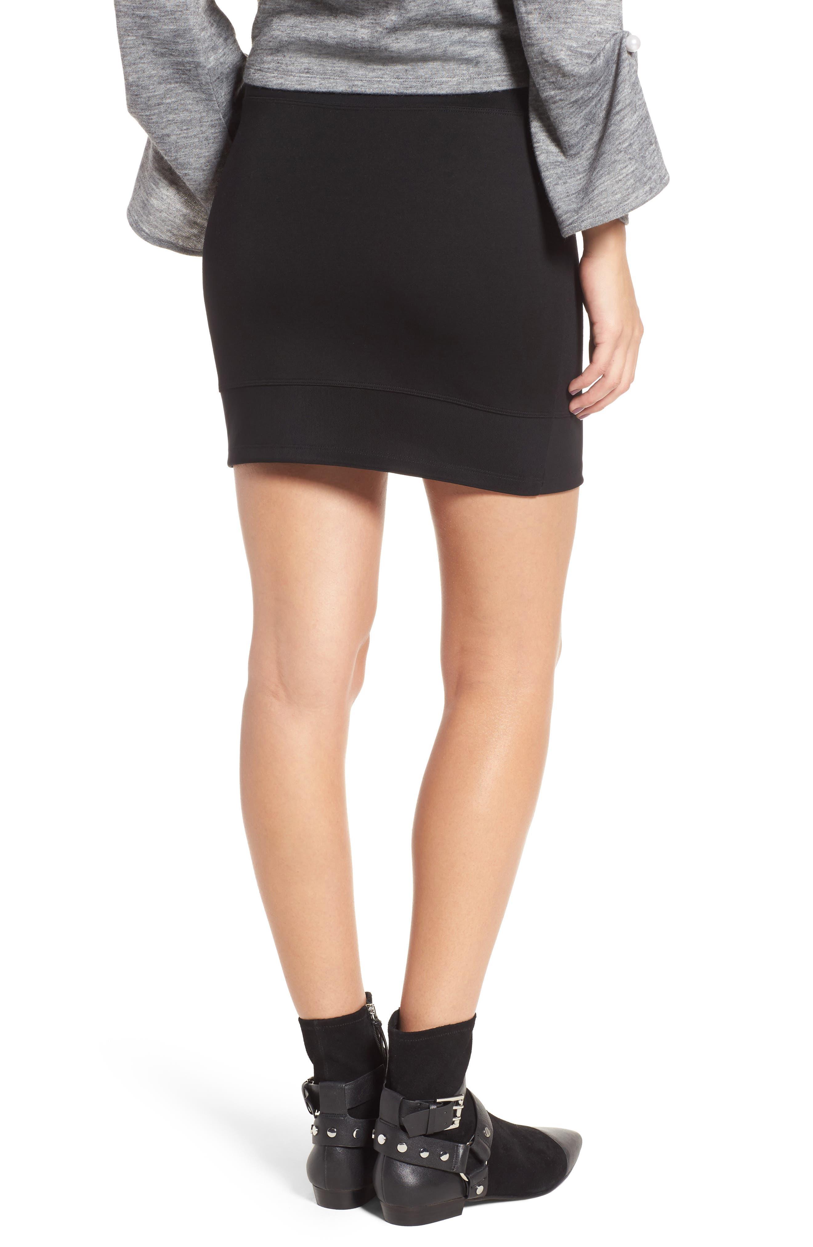 Ribbed Miniskirt,                             Alternate thumbnail 2, color,                             001