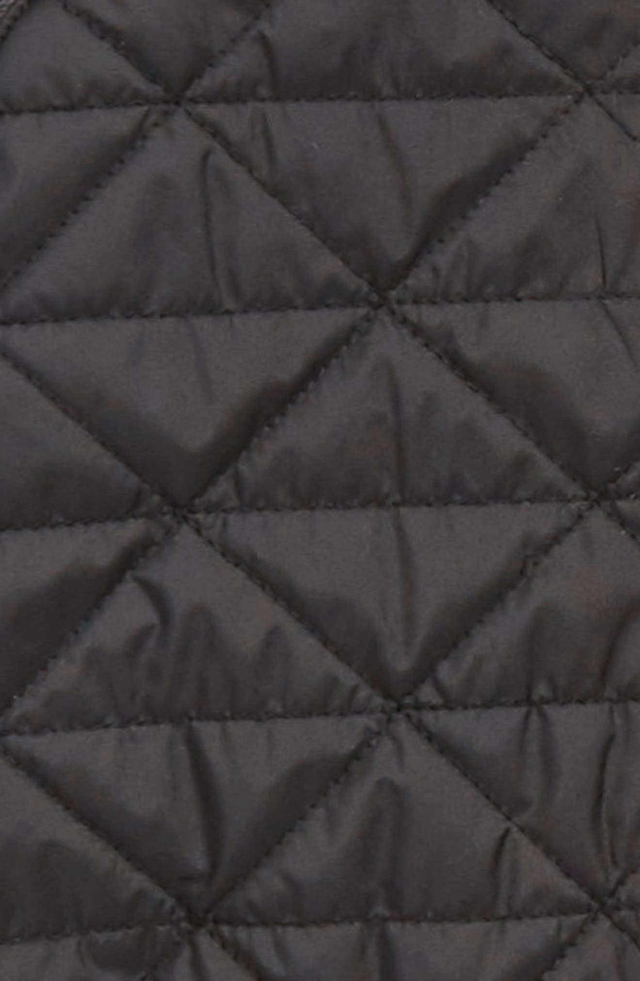 Water Repellent Quilted Sweater Fleece Hoodie,                             Alternate thumbnail 3, color,                             TNF BLACK