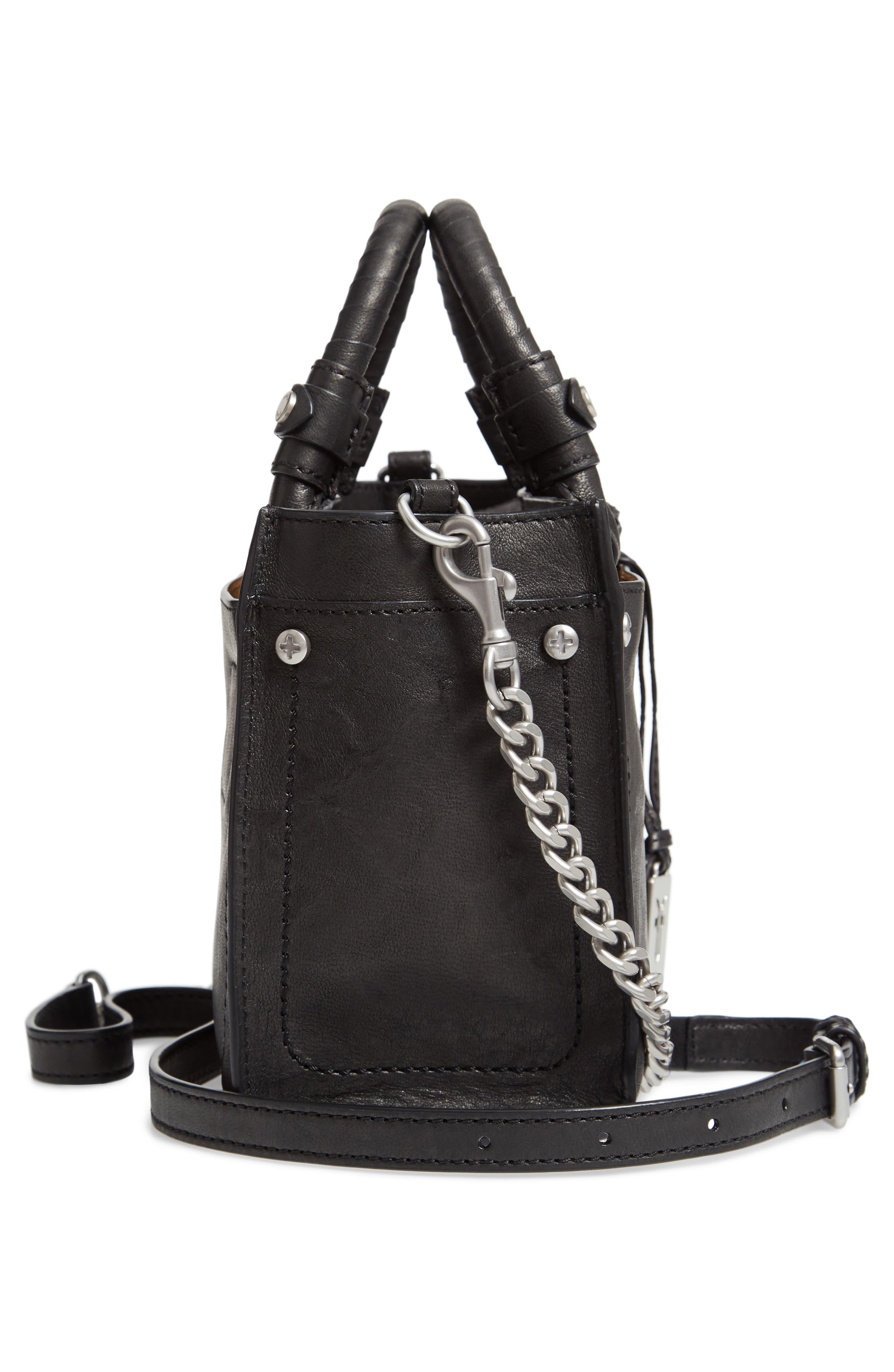 Mini Demi Leather Satchel,                             Alternate thumbnail 5, color,                             BLACK