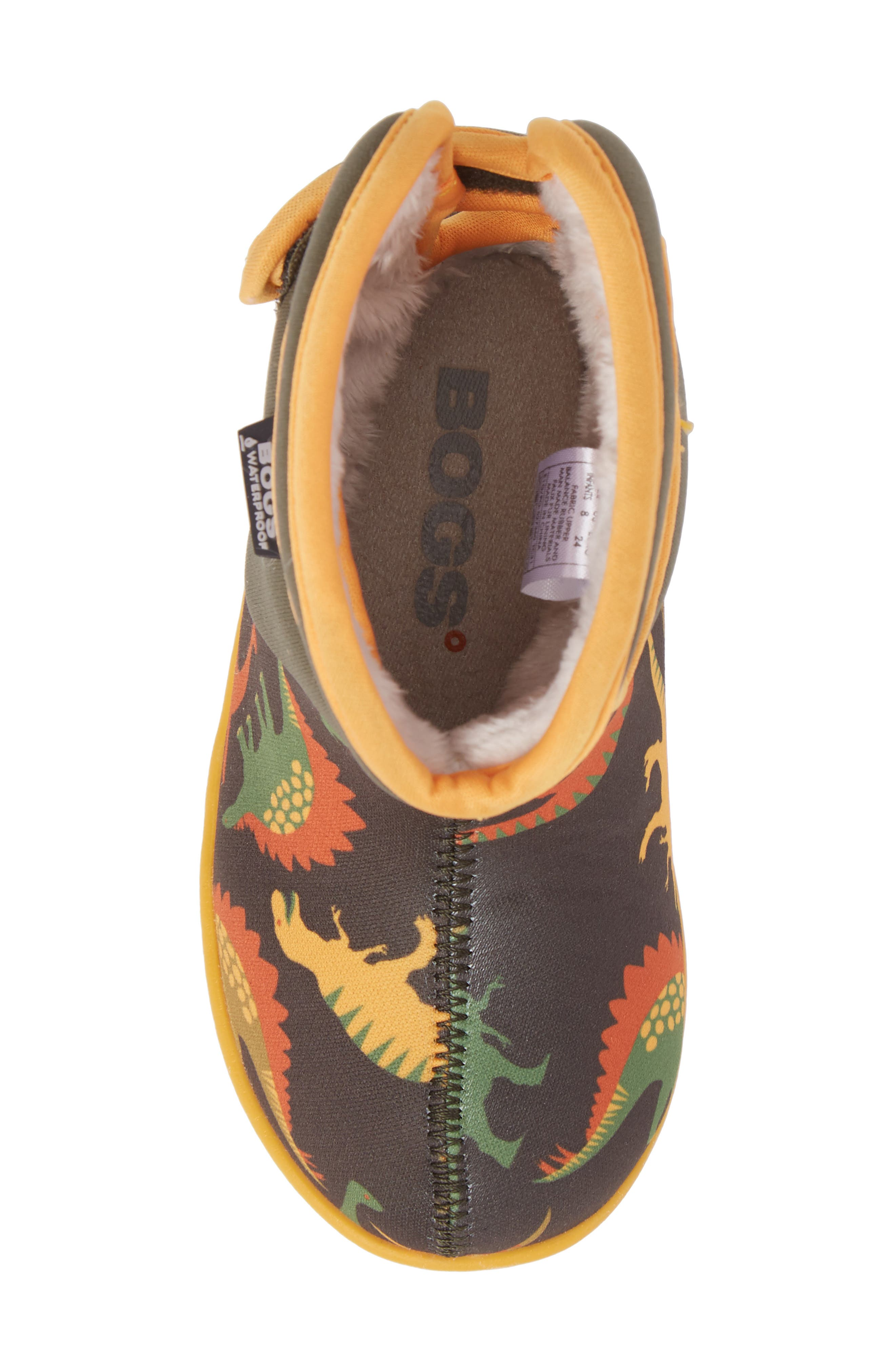 Baby Bog Classic Dino Insulated Waterproof Boot,                             Alternate thumbnail 5, color,                             356