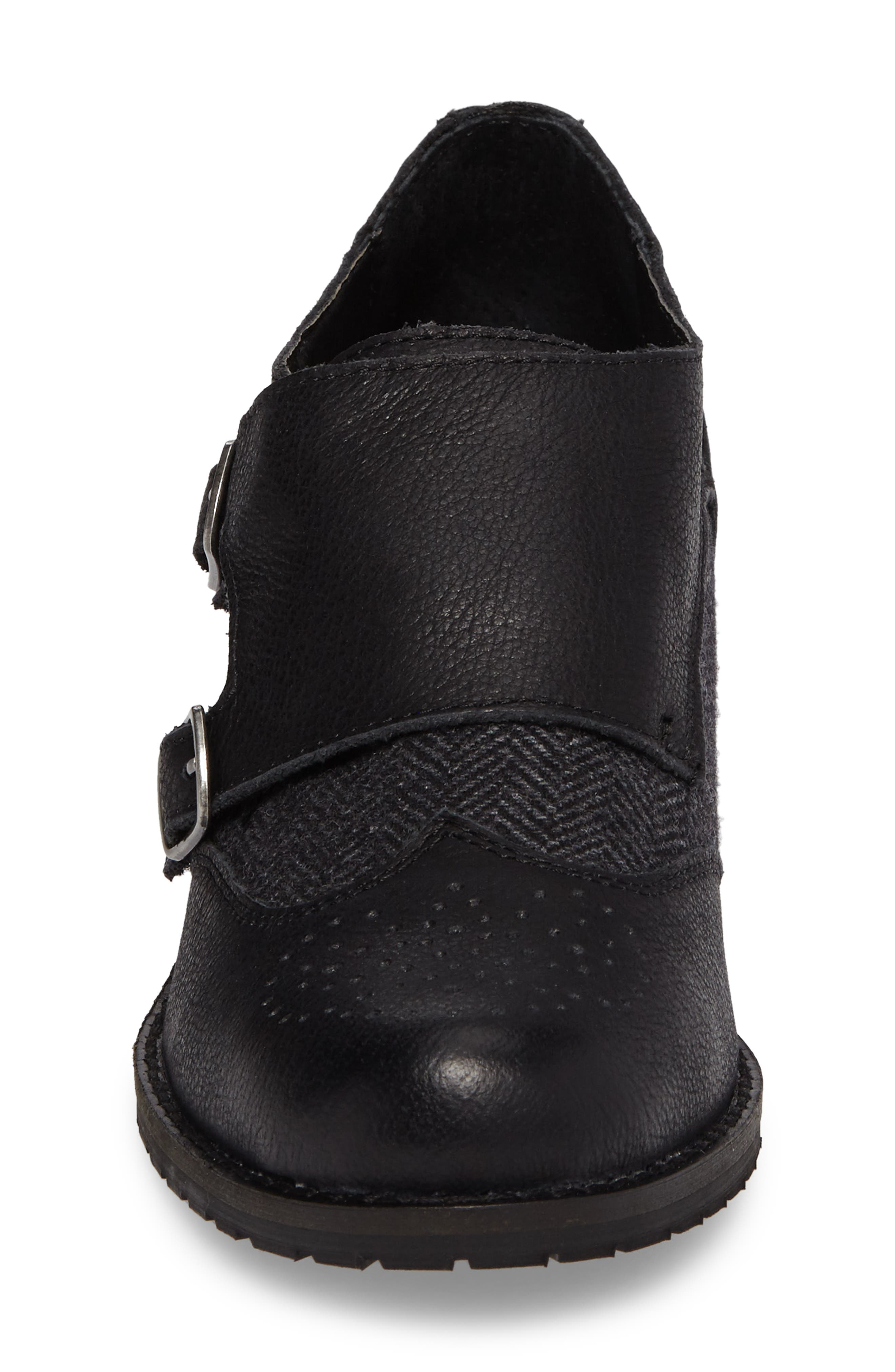 Dina Double Monk Strap Ankle Boot,                             Alternate thumbnail 4, color,                             BLACK LEATHER