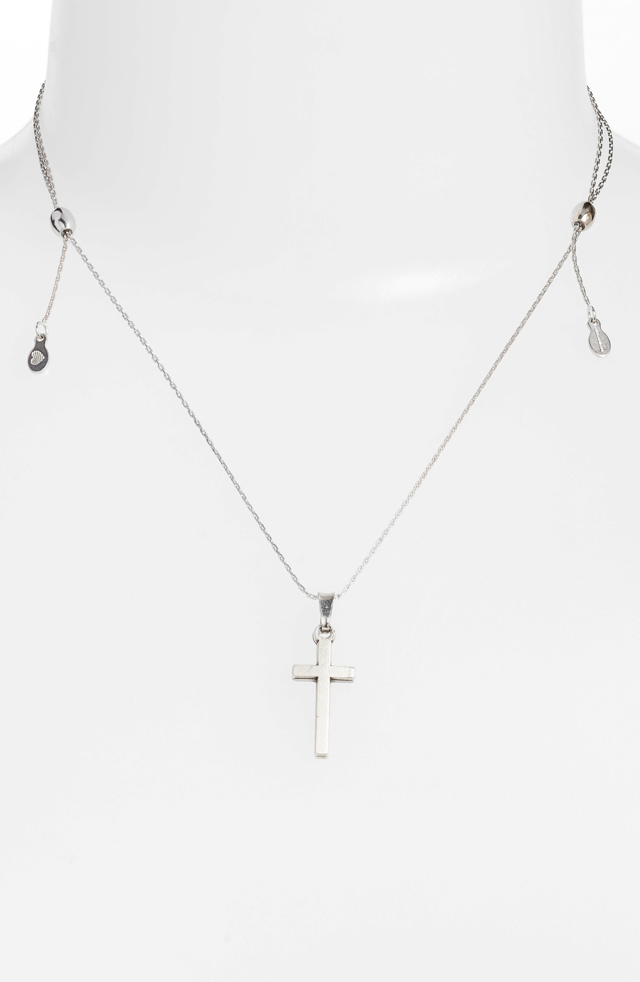 Cross Pendant Necklace,                             Alternate thumbnail 2, color,                             SILVER