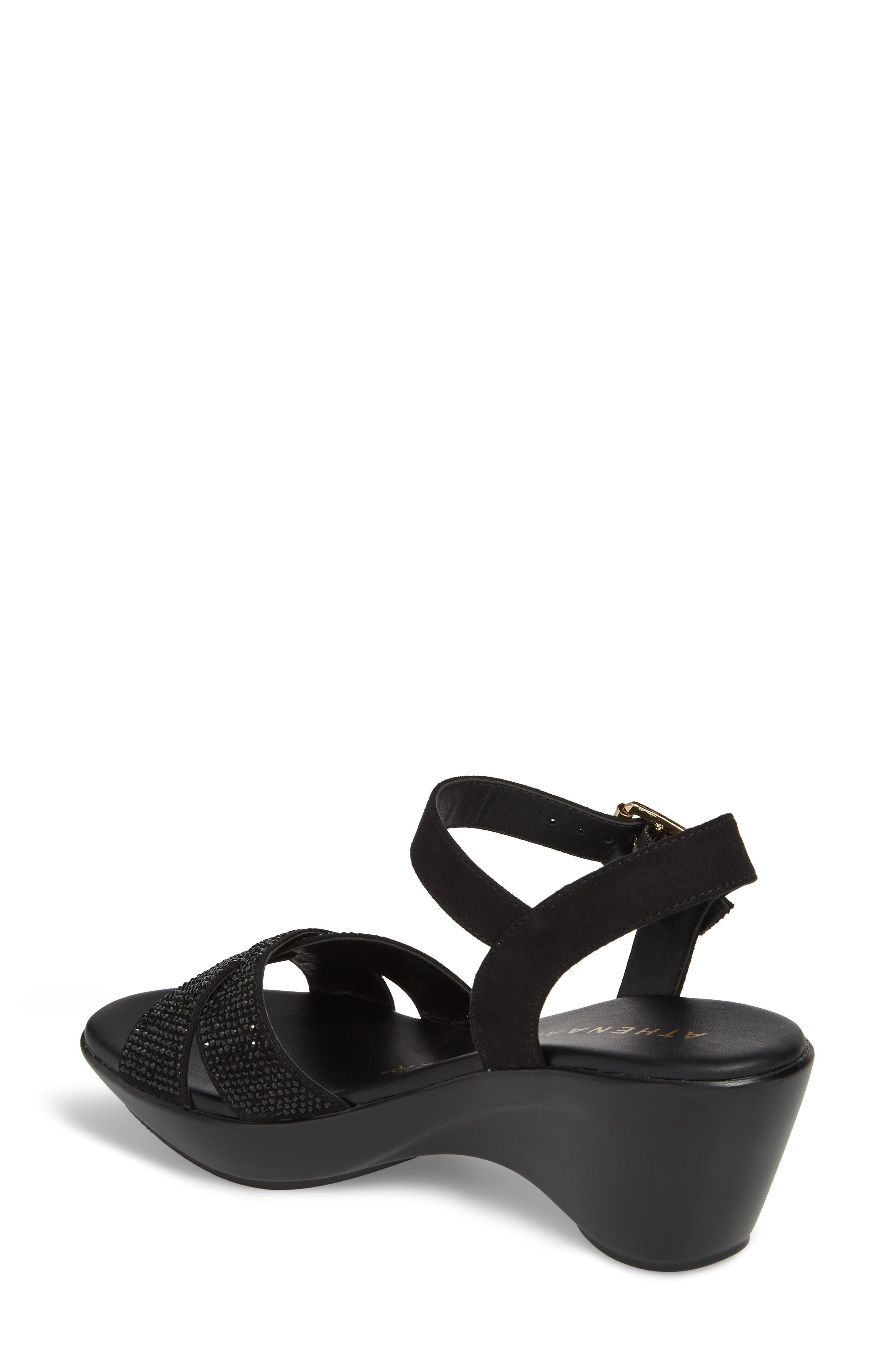 Florence Wedge Sandal,                             Alternate thumbnail 2, color,                             BLACK FAUX SUEDE