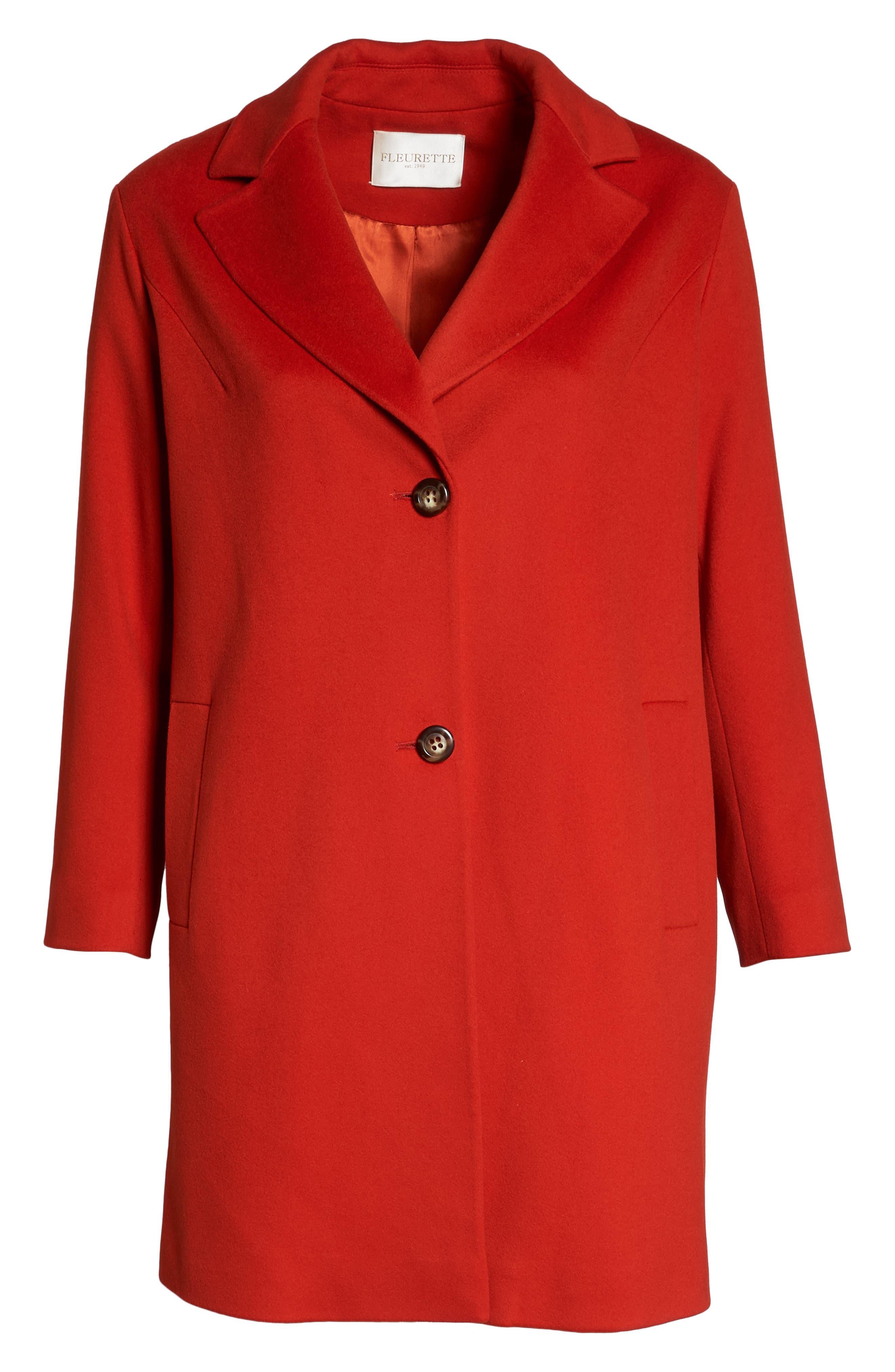 FLEURETTE,                             Loro Piana Wool Long Coat,                             Alternate thumbnail 6, color,                             SAFFRON