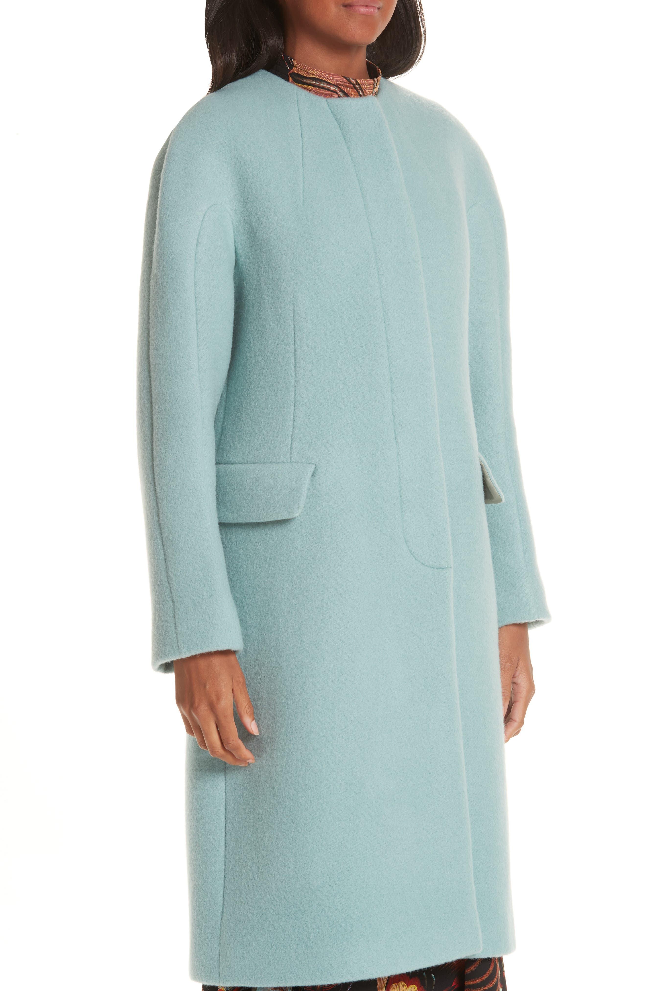 Wool & Mohair Coat,                             Alternate thumbnail 4, color,                             LIGHT BLUE