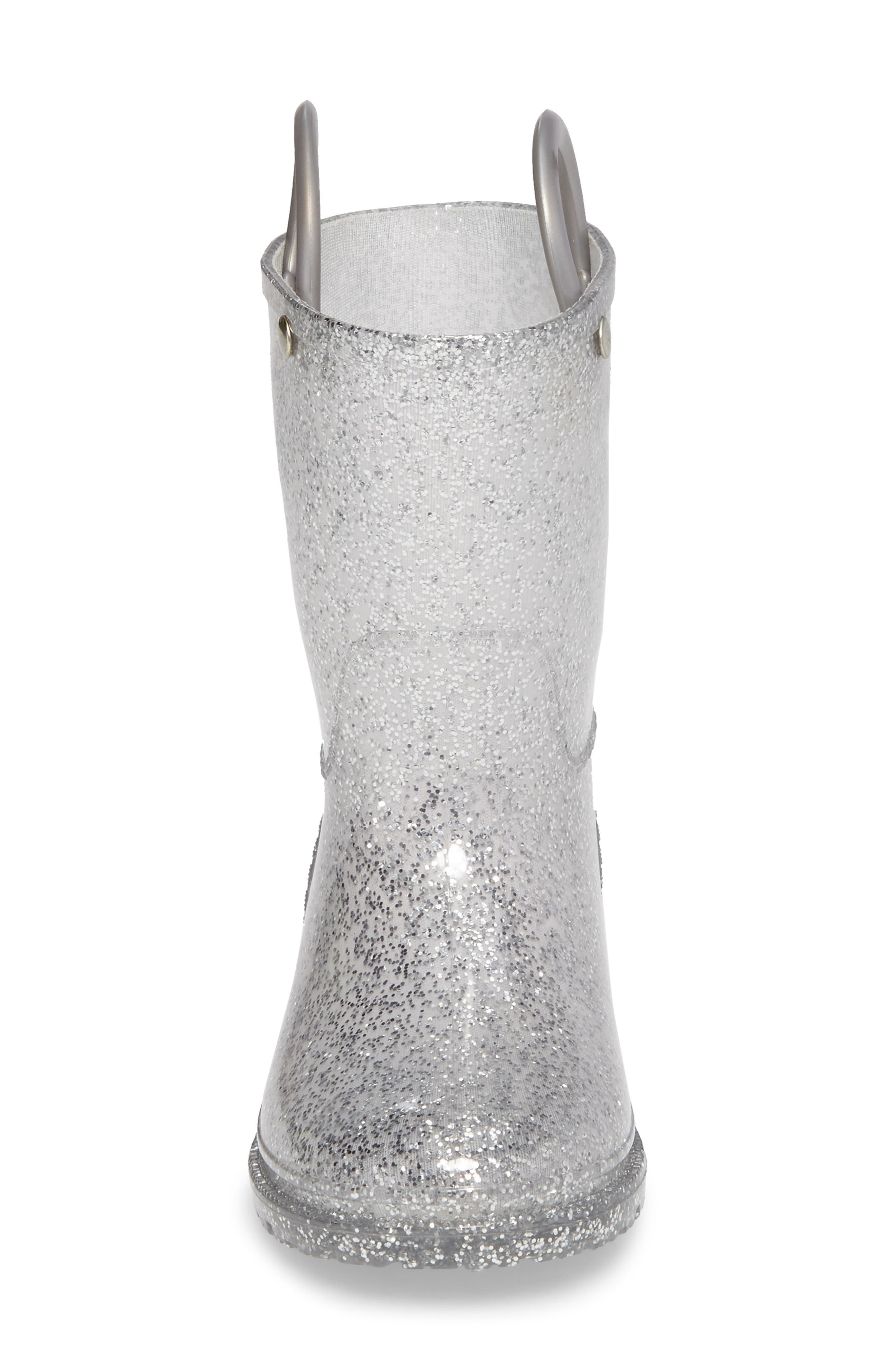Glitter Rain Boot,                             Alternate thumbnail 4, color,                             SILVER