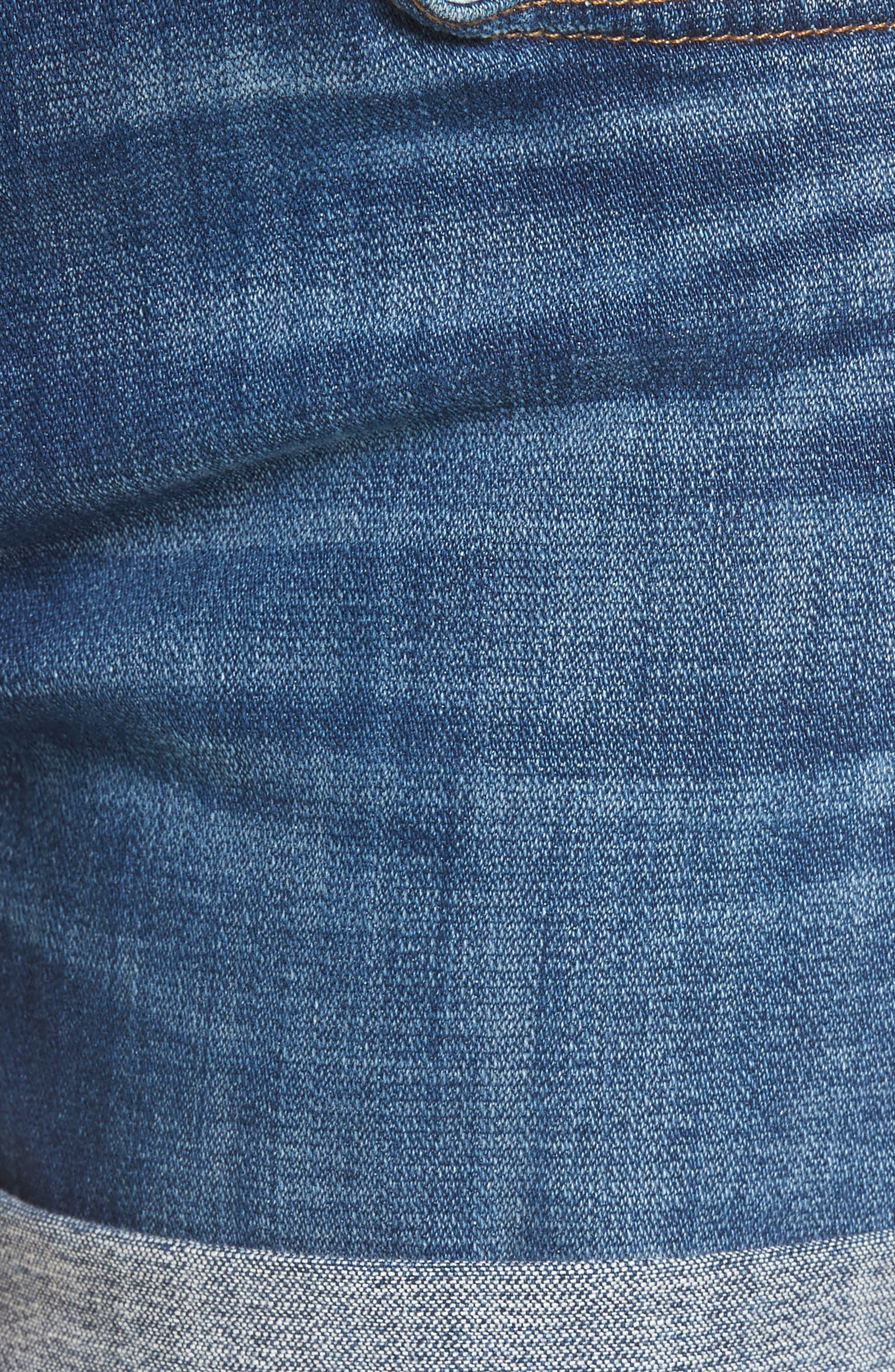 Roll Cuff Denim Shorts,                             Alternate thumbnail 6, color,                             400