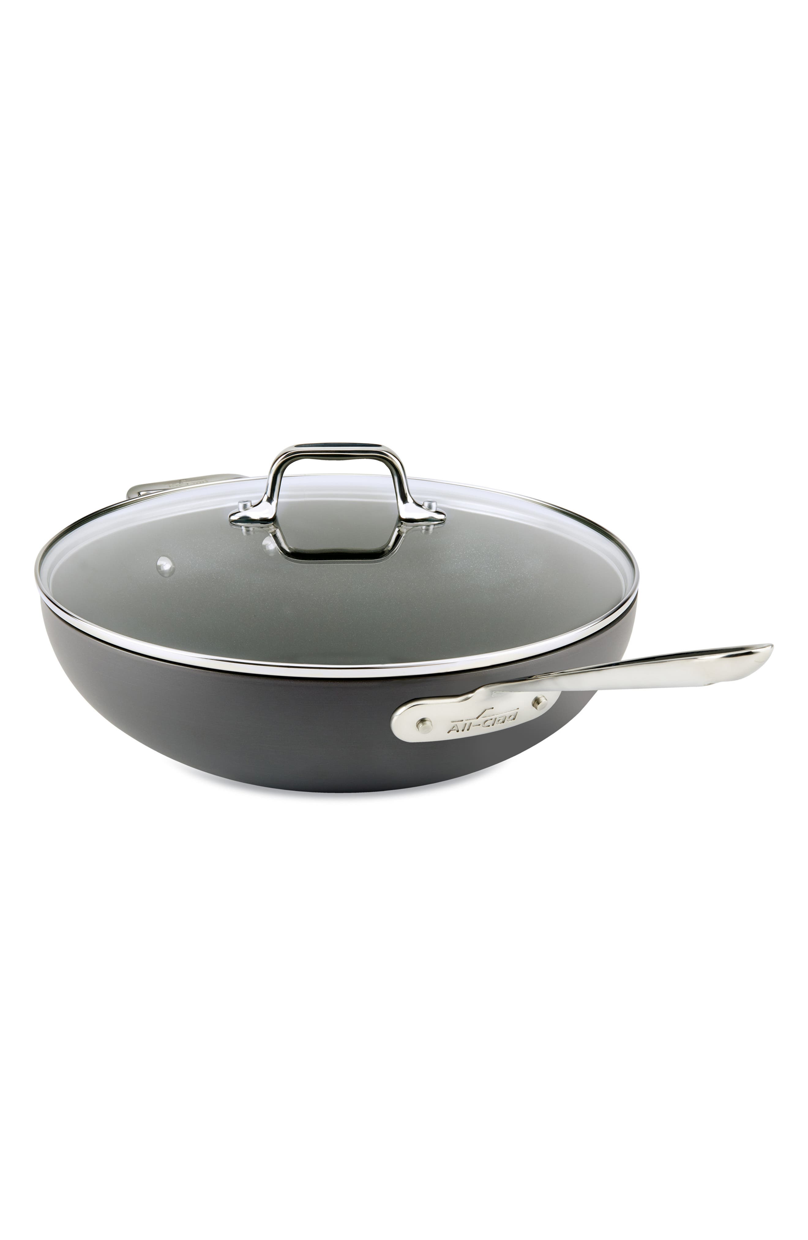ALL-CLAD,                             12-Inch Hard Anodized Aluminum Nonstick Chef's Pan,                             Main thumbnail 1, color,                             BLACK