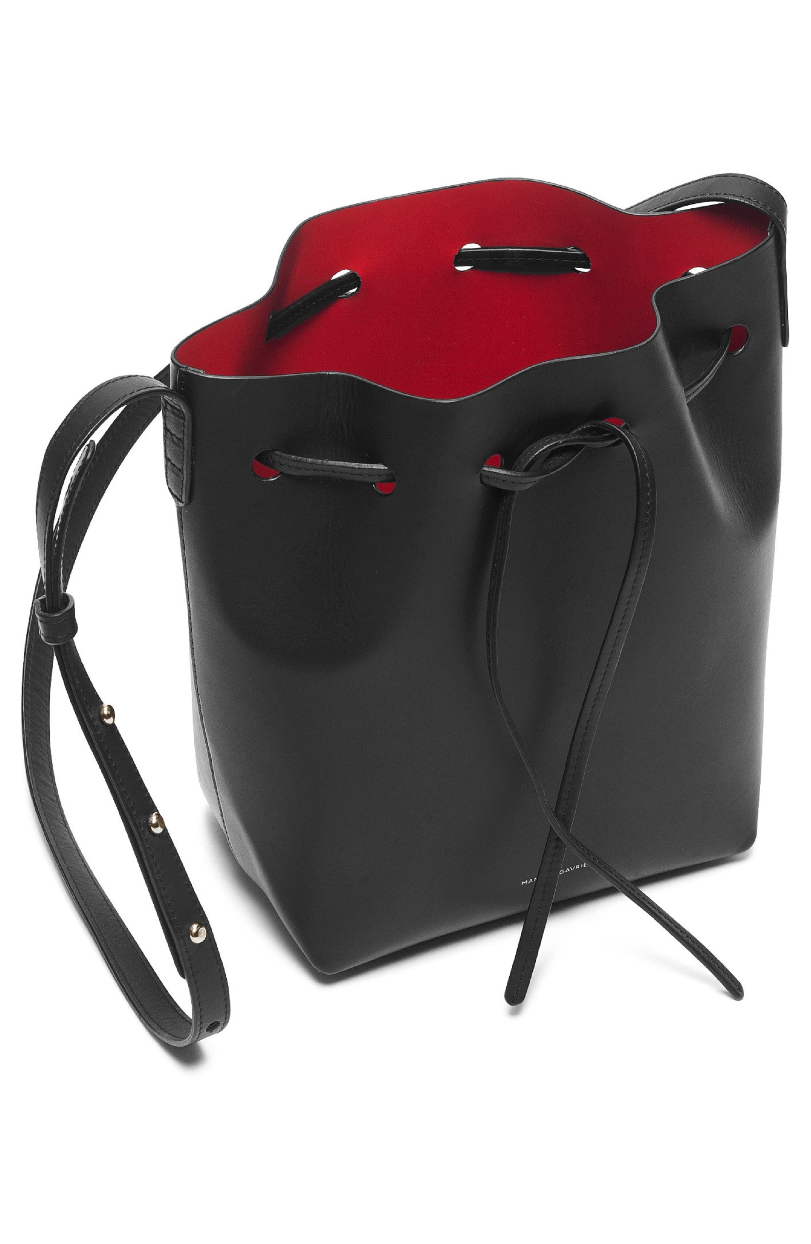 Mini Leather Bucket Bag,                             Alternate thumbnail 2, color,                             BLACK/ FLAMMA
