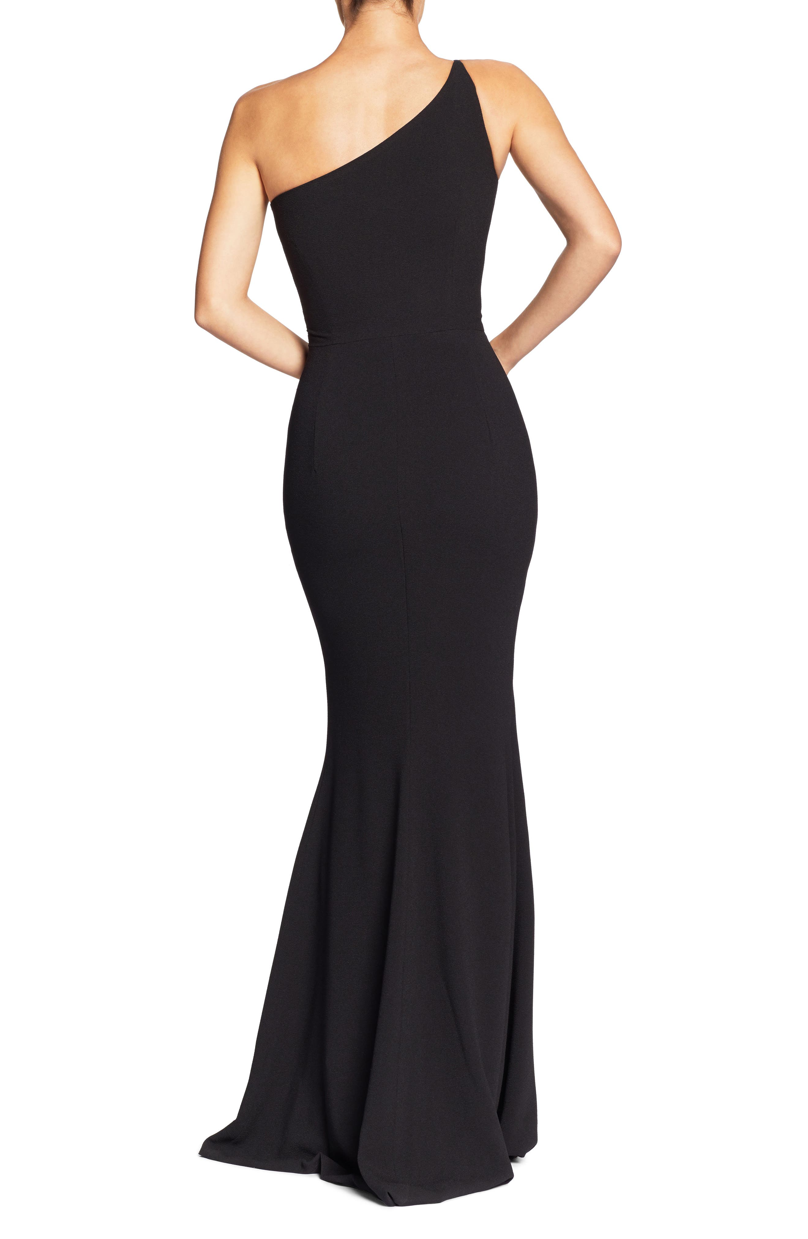 DRESS THE POPULATION,                             Amy One-Shoulder Crepe Gown,                             Alternate thumbnail 2, color,                             001