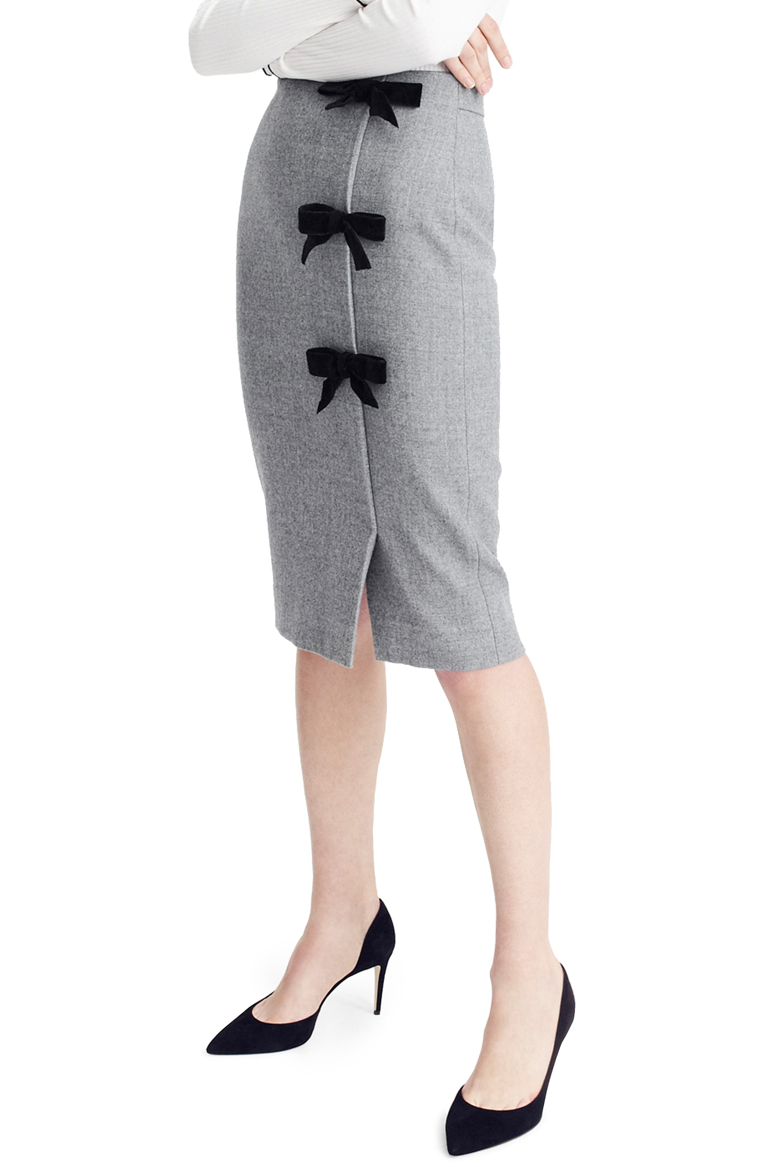 Bow Double Serge Wool Pencil Skirt,                             Main thumbnail 1, color,                             HTHR GRAPHITE