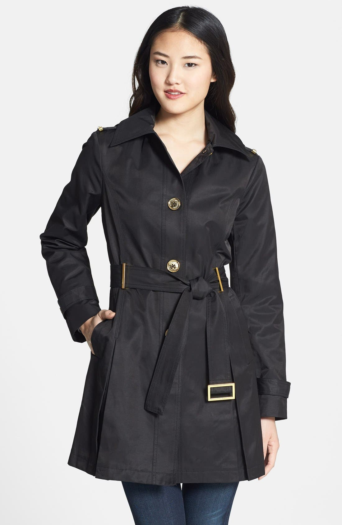 Hooded Trench Coat, Main, color, 001