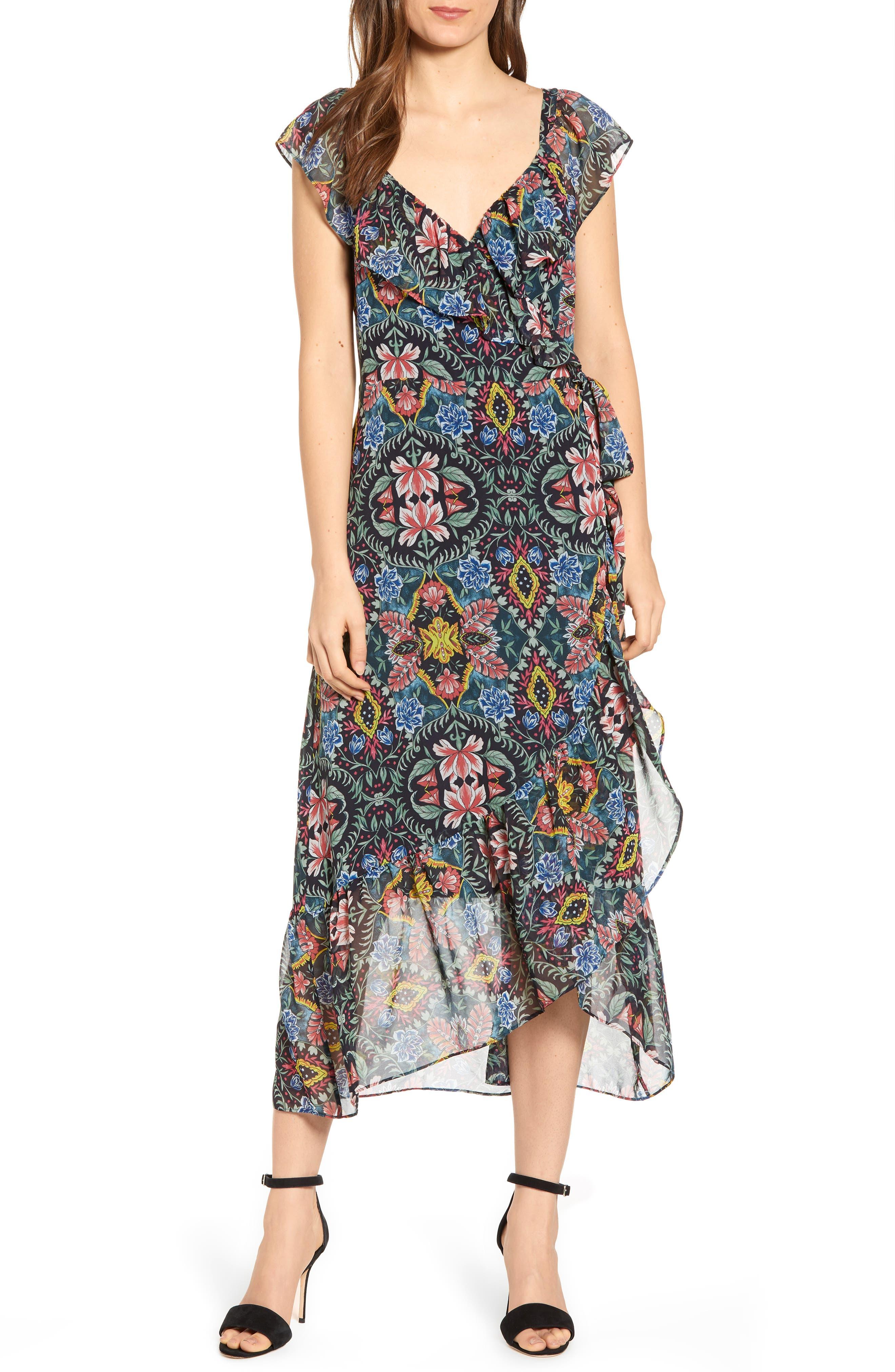 Rebecca Minkoff Jessica Floral Wrap Midi Dress, Black