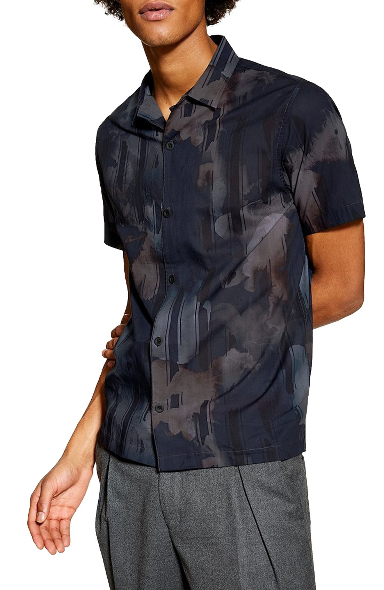 Floral Print Revere Shirt, Main, color, NAVY MULTI