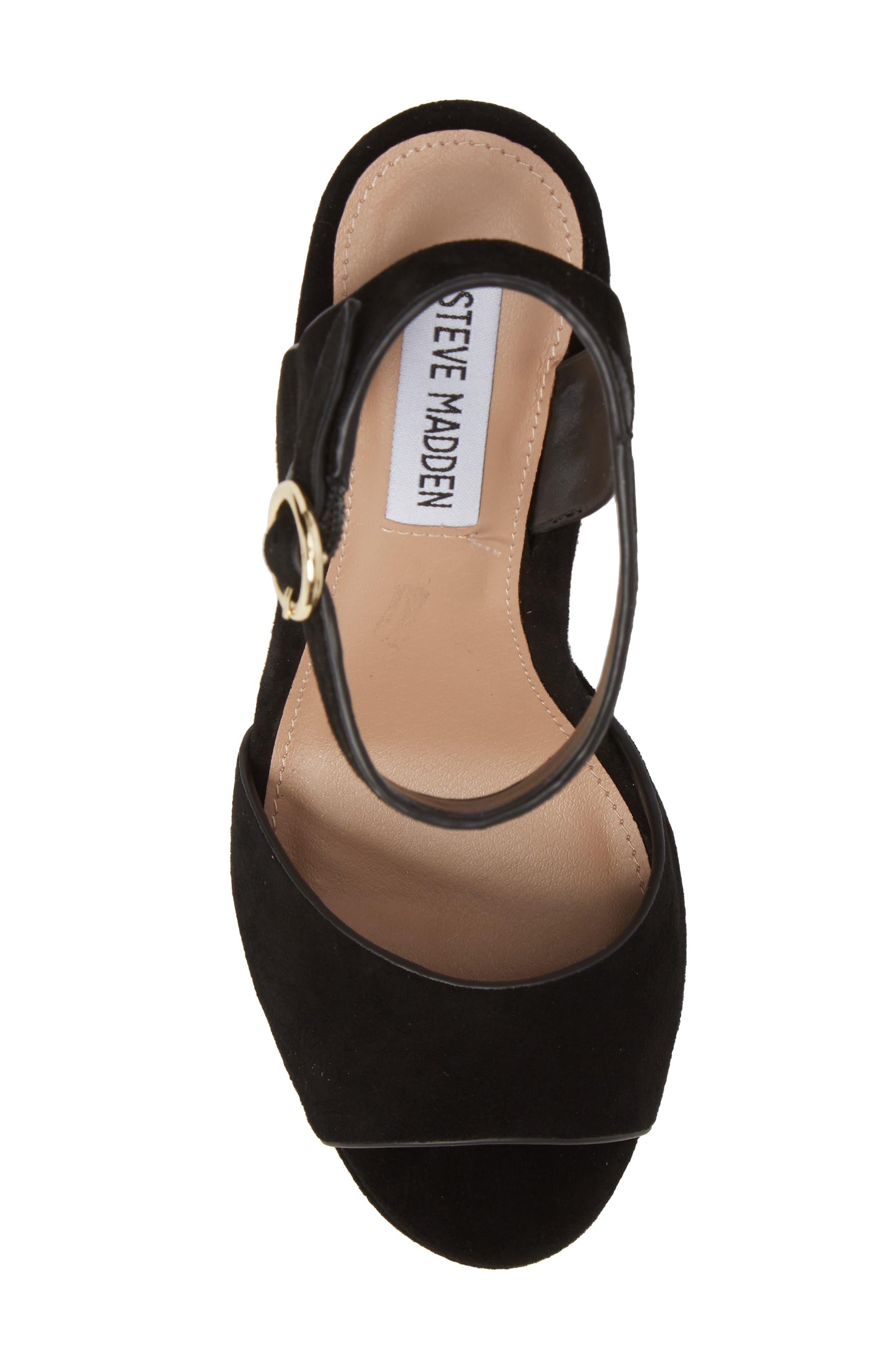 Madeline Platform Sandal,                             Alternate thumbnail 5, color,                             BLACK SUEDE