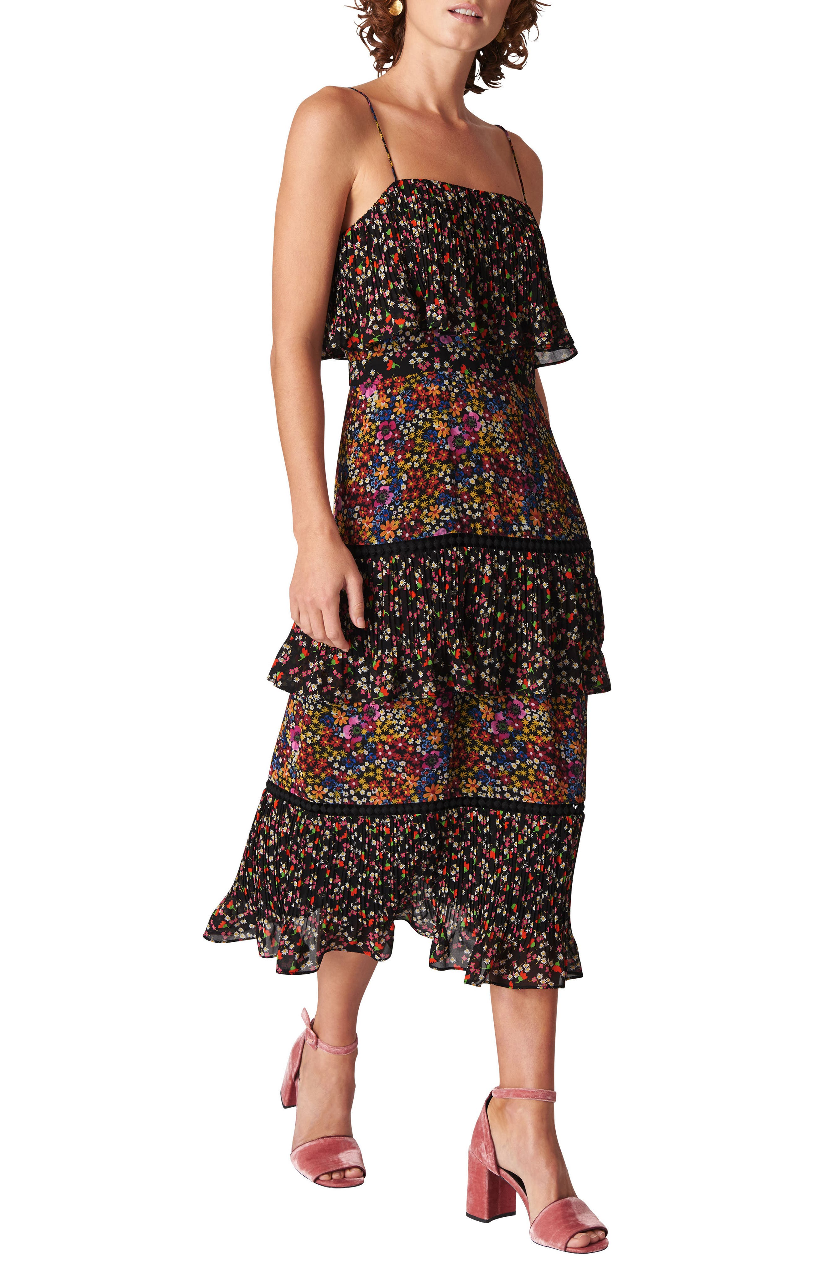 Skylar Peony Print Tiered Dress,                         Main,                         color, BLACK/ MULTI