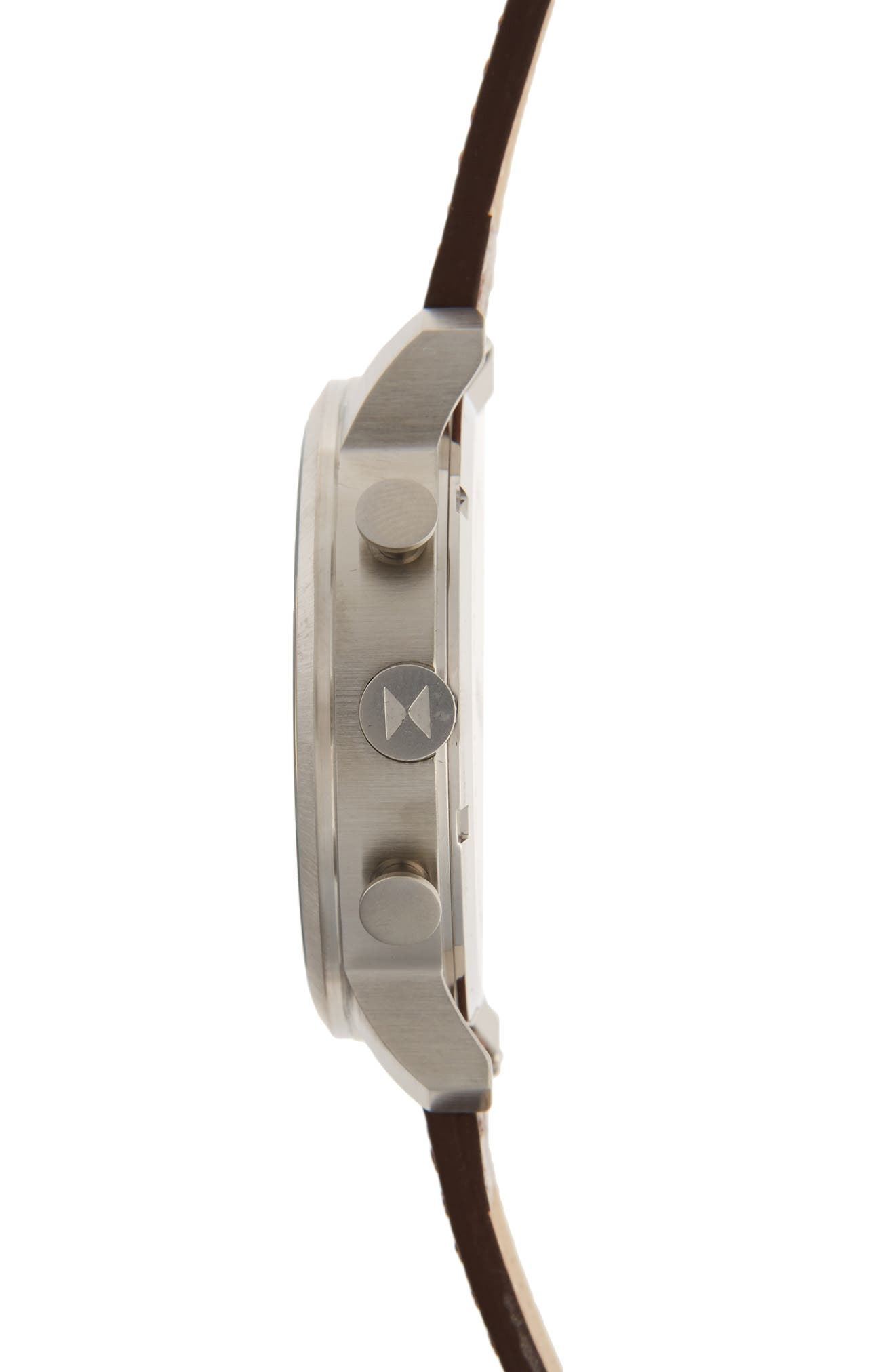 Chronograph Leather Strap Watch, 45mm,                             Alternate thumbnail 3, color,