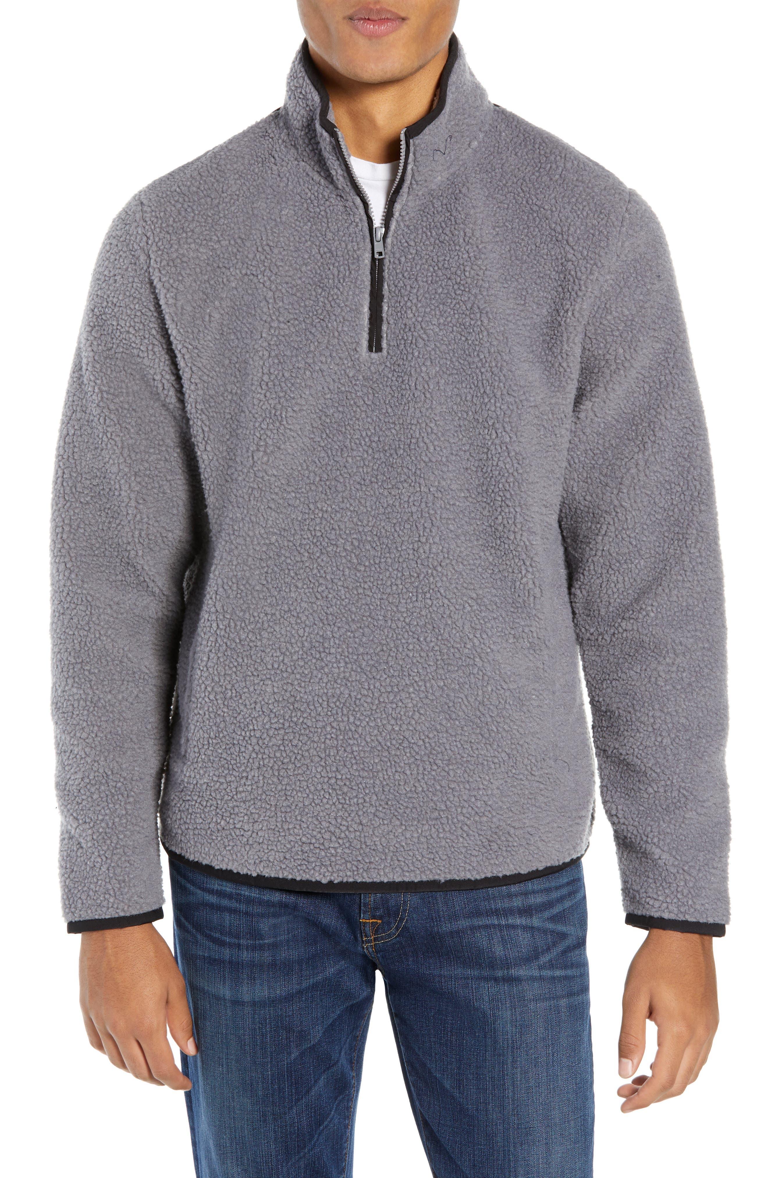 Nordstrom Shop Quarter Zip Fleece Pullover, Grey