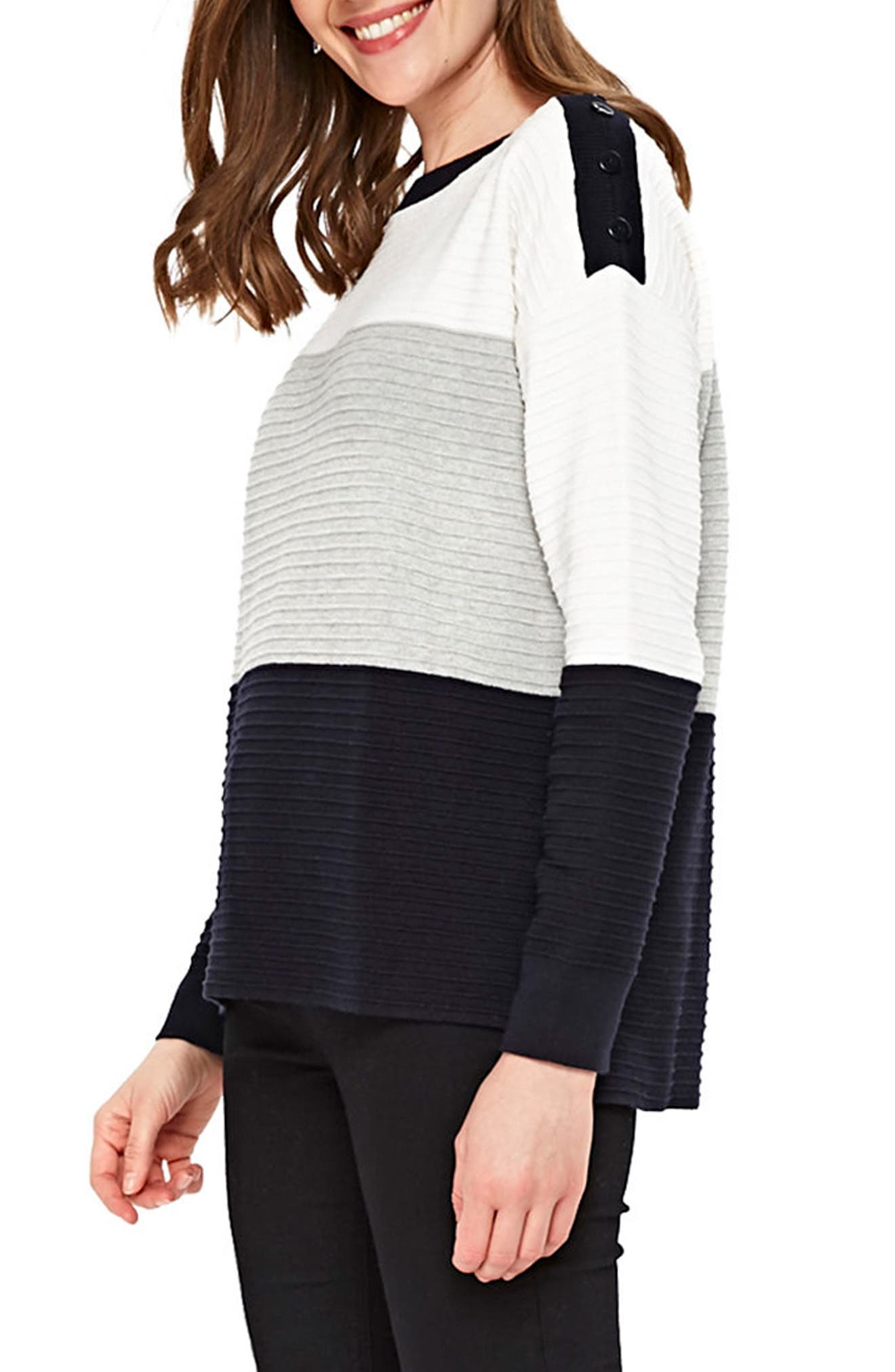 Colorblock Ottoman Knit Sweater,                             Alternate thumbnail 3, color,                             900
