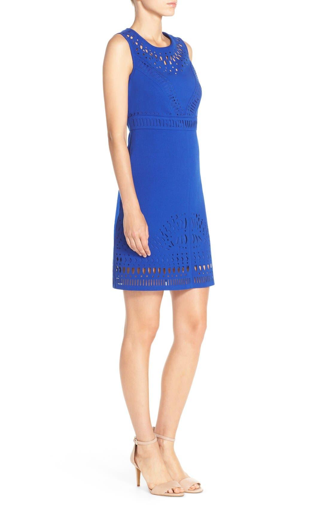 Laser Cut Crepe Sheath Dress,                             Alternate thumbnail 4, color,                             430