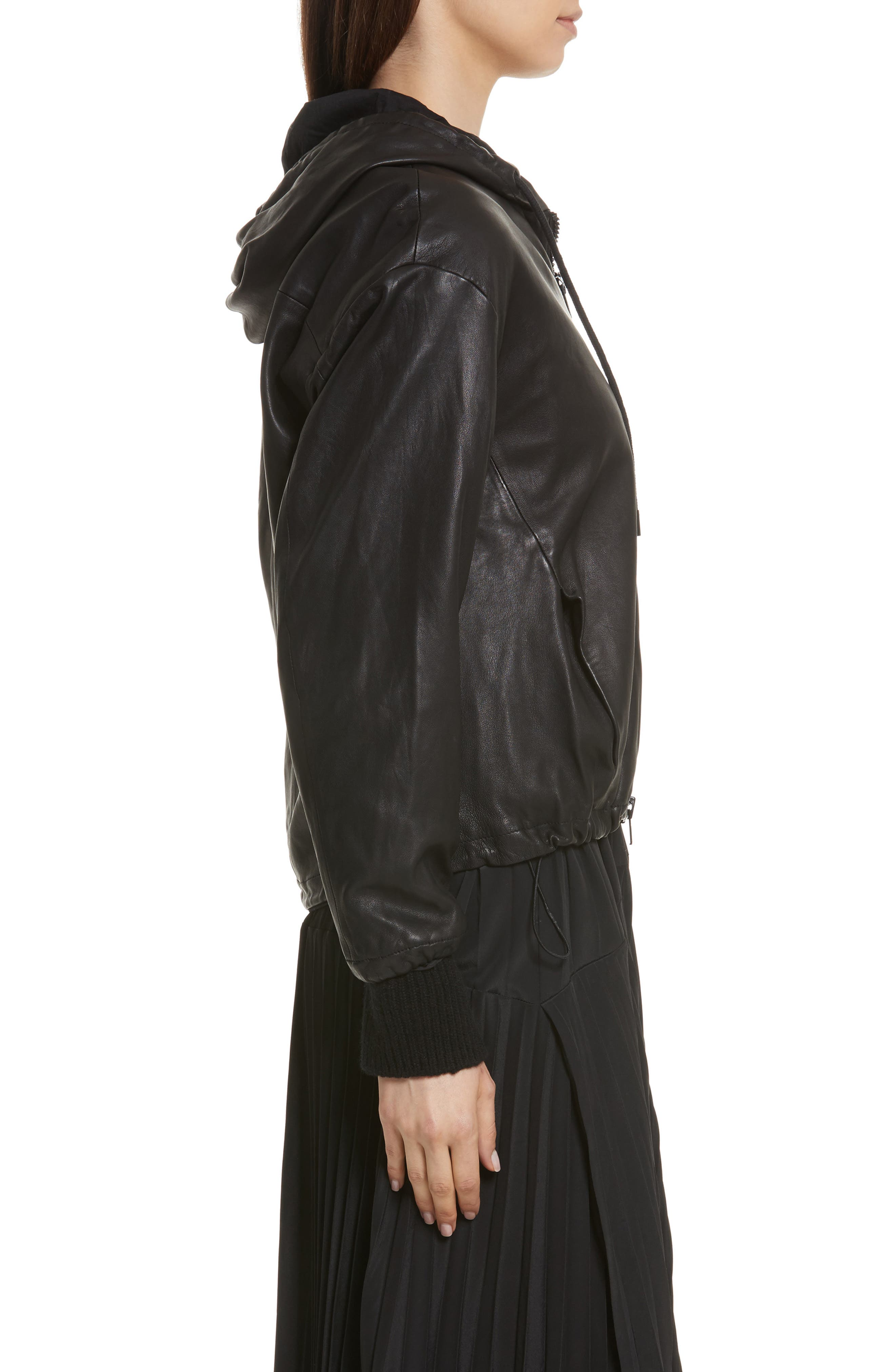 Leather Zip-Up Hoodie,                             Alternate thumbnail 3, color,                             001