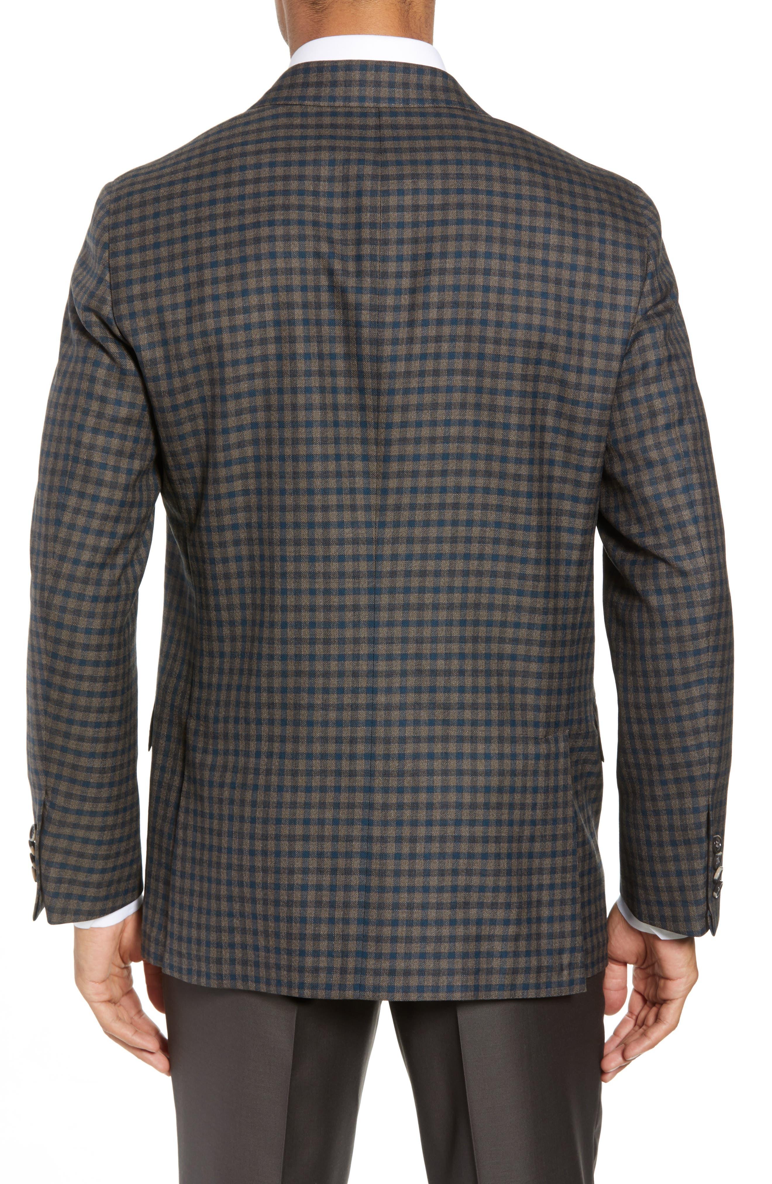 Classic B-Fit Check Wool Sport Coat,                             Alternate thumbnail 2, color,                             MEDIUM BROWN