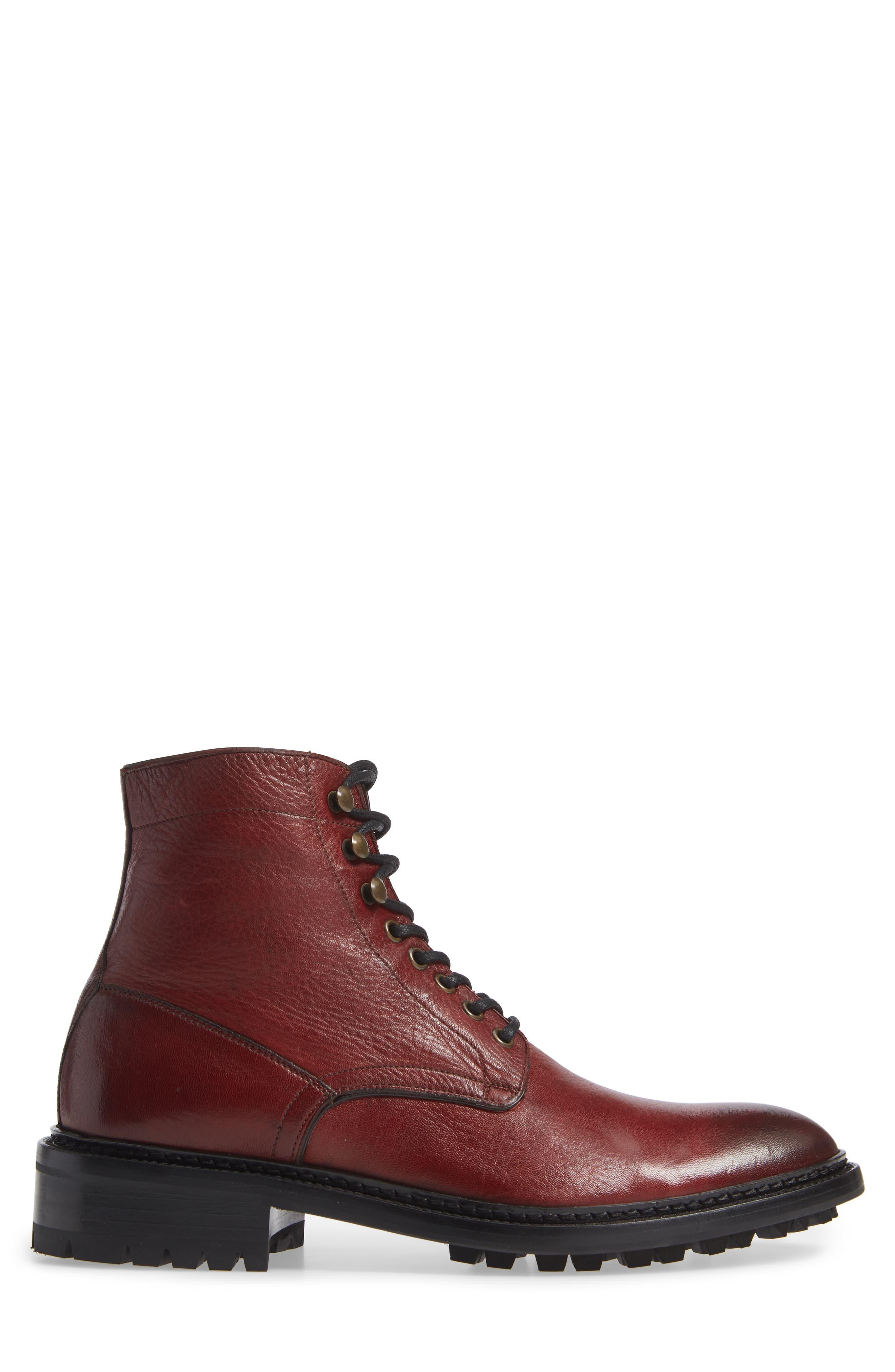 Greyson Plain Toe Boot,                             Alternate thumbnail 3, color,                             BURGUNDY