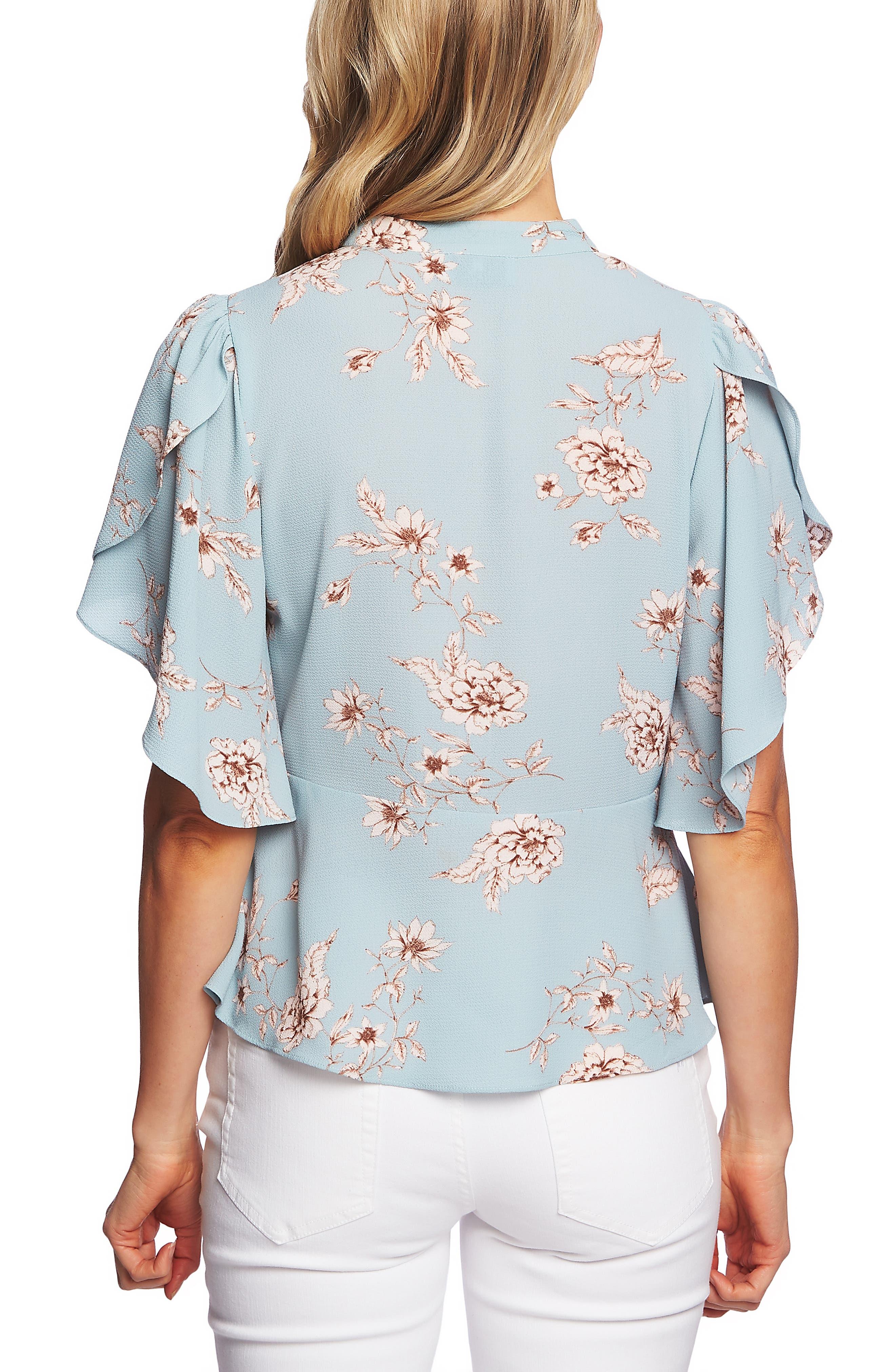 CECE,                             Etched Floral Tie Neck Blouse,                             Alternate thumbnail 2, color,                             AQUA DUSK