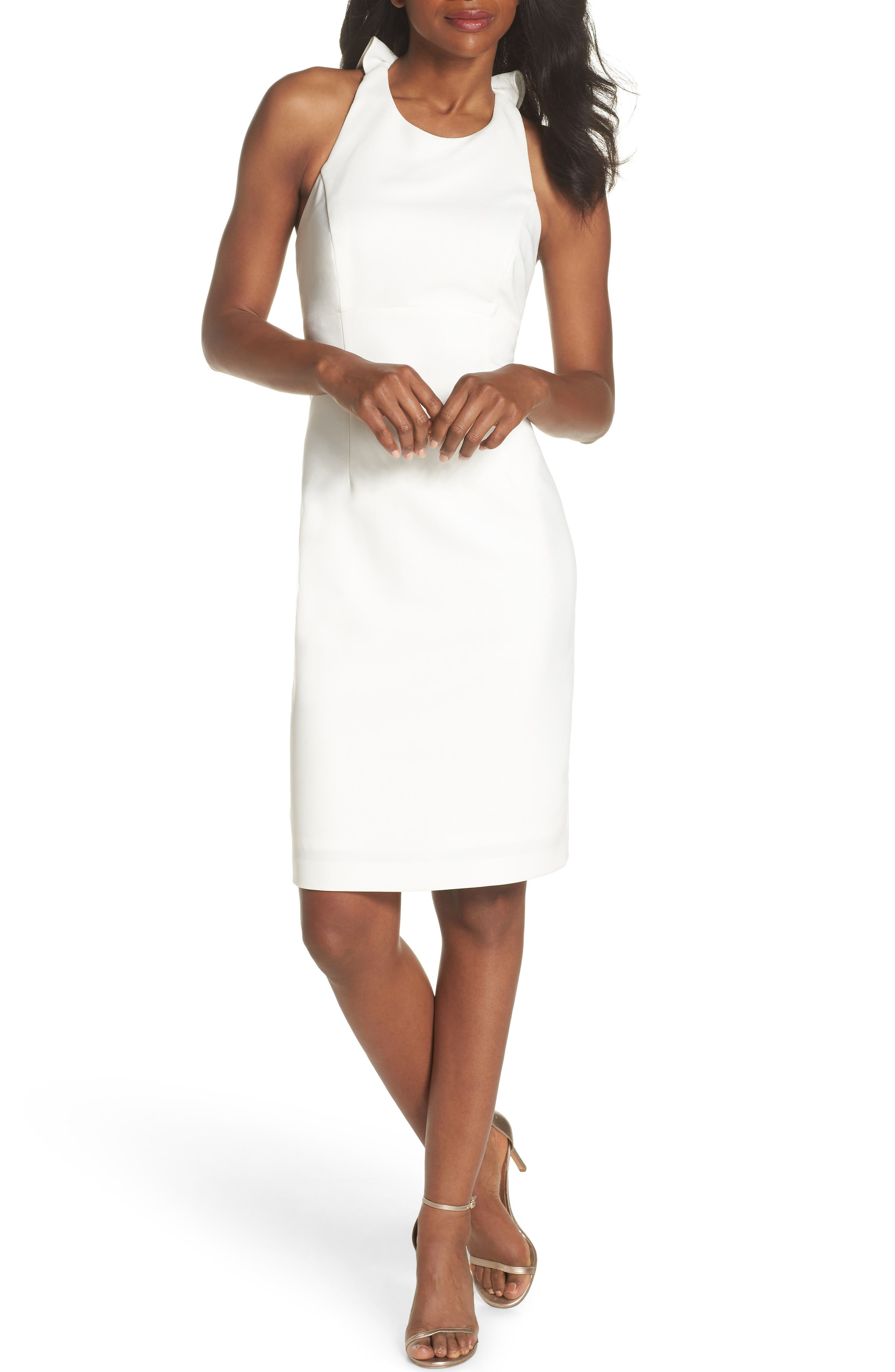 Sleeveless Ruffle Back Sheath Dress,                         Main,                         color, IVORY