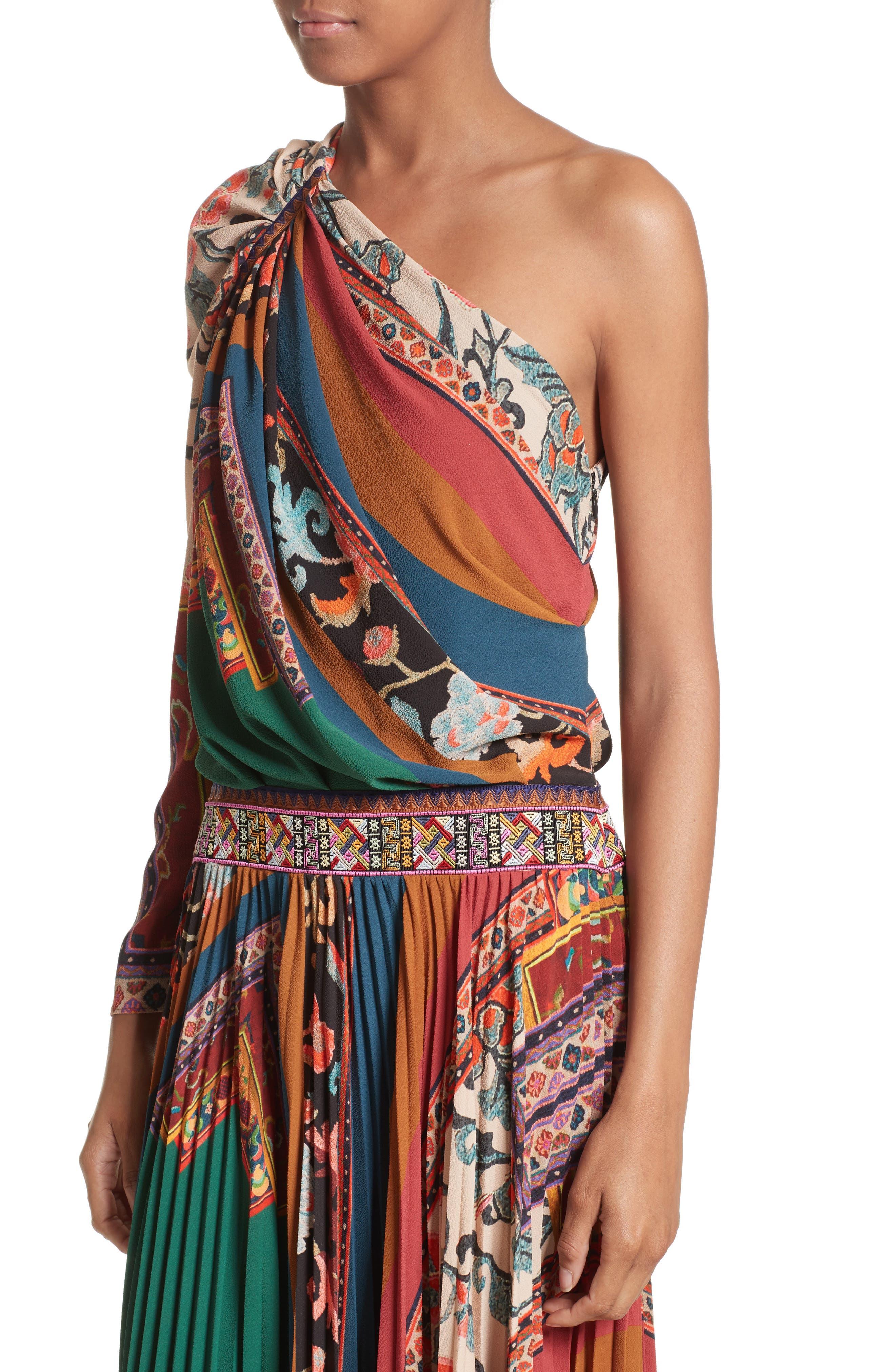 Print One-Shoulder Maxi Dress,                             Alternate thumbnail 4, color,                             300
