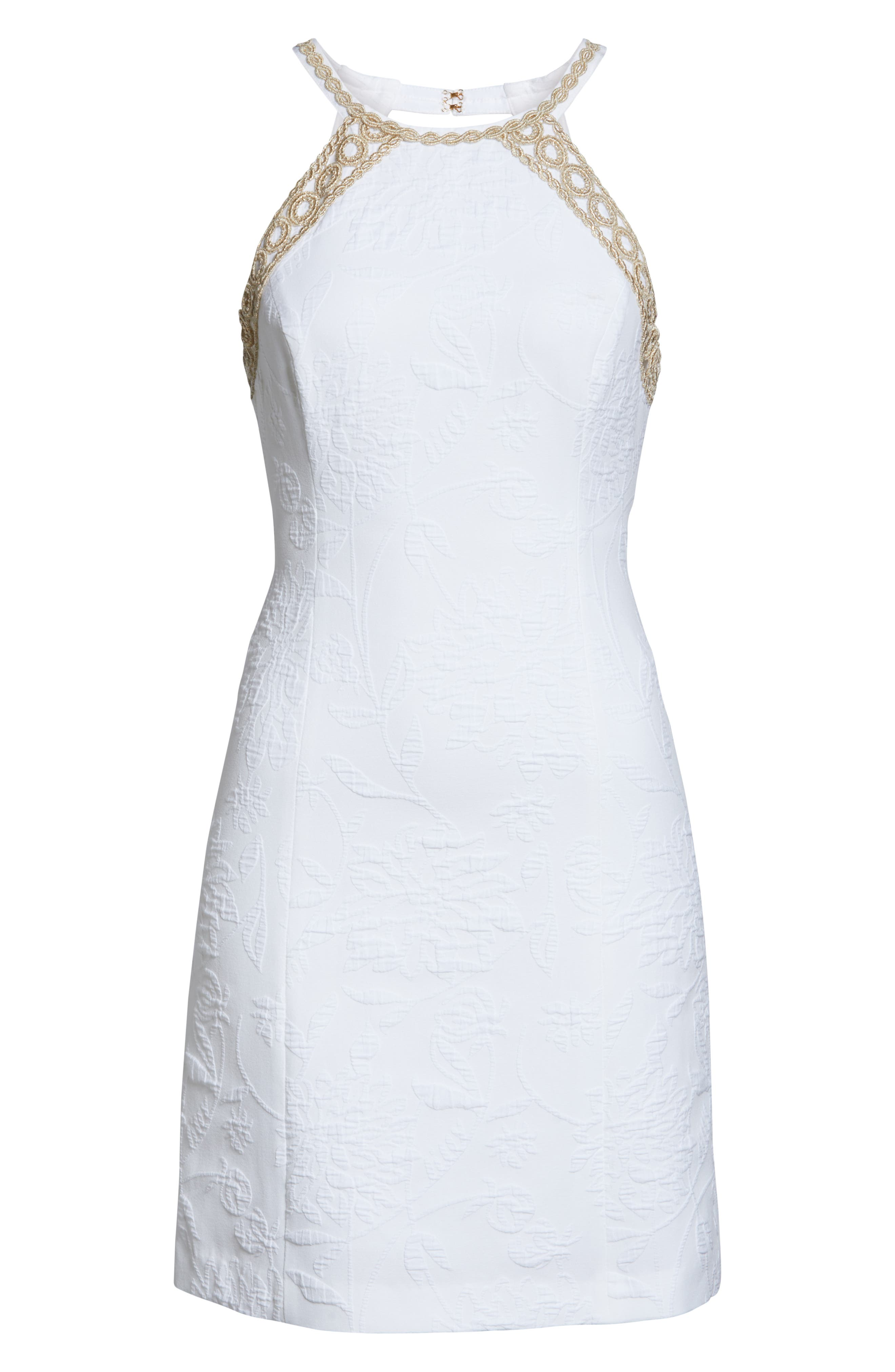 Pearl Stretch Shift Dress,                             Alternate thumbnail 6, color,                             RESORT WHITE CALIENTE PU