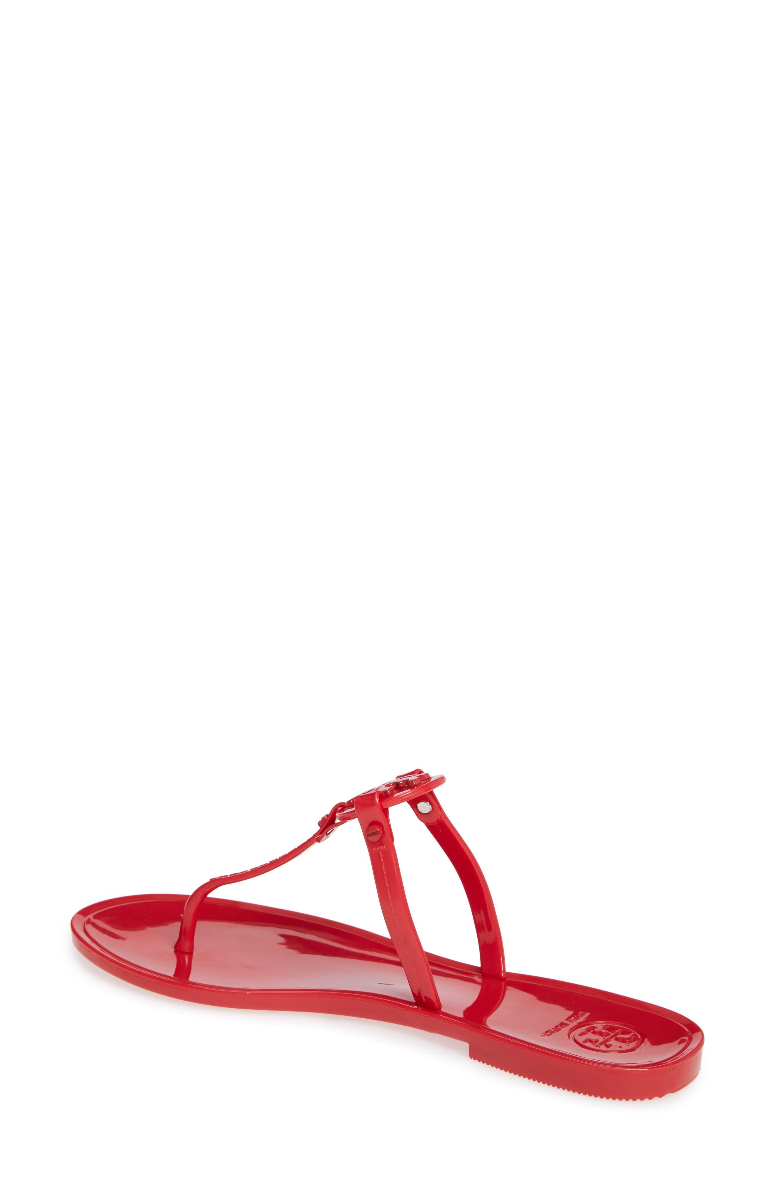 'Mini Miller' Flat Sandal,                             Alternate thumbnail 2, color,                             BRILLIANT RED