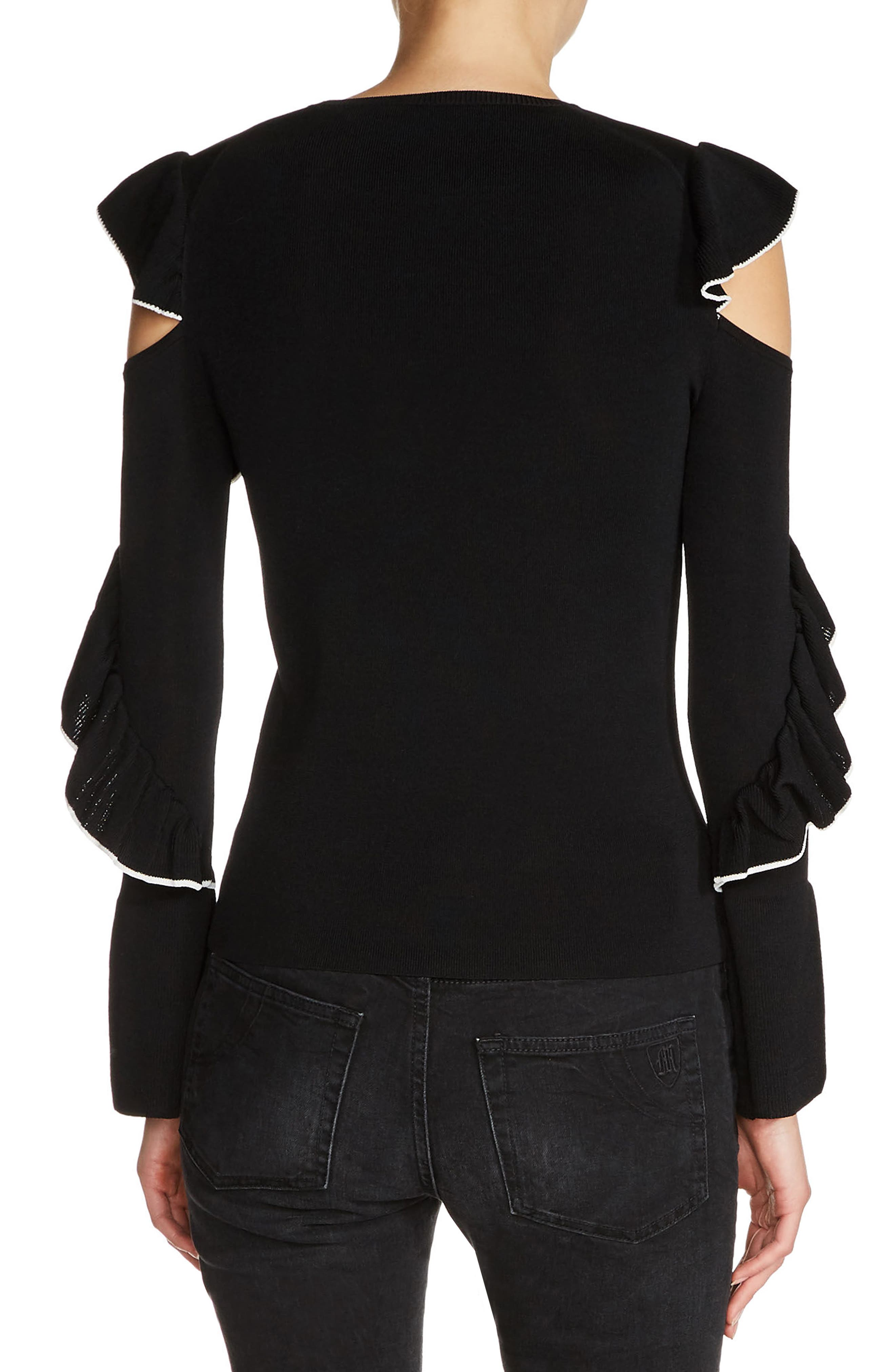 Tipped Ruffle Sleeve Sweater,                             Alternate thumbnail 2, color,                             001