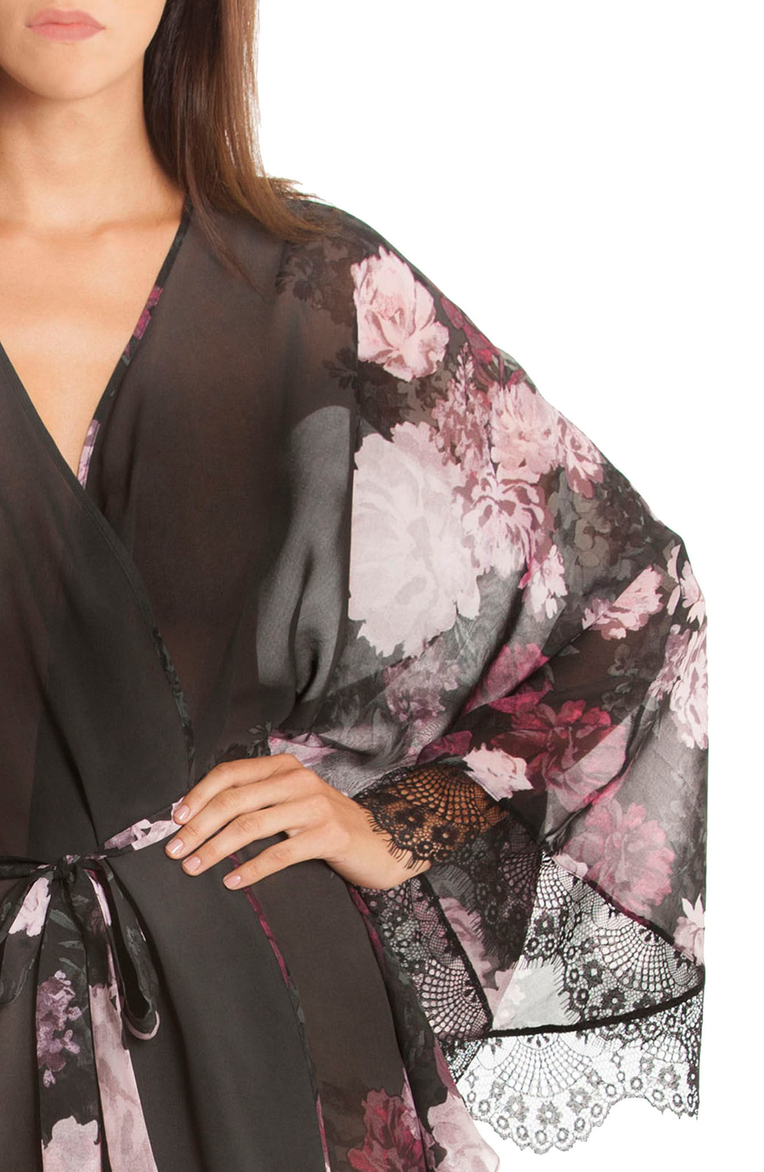 Flower Print Kimono Robe,                             Alternate thumbnail 5, color,