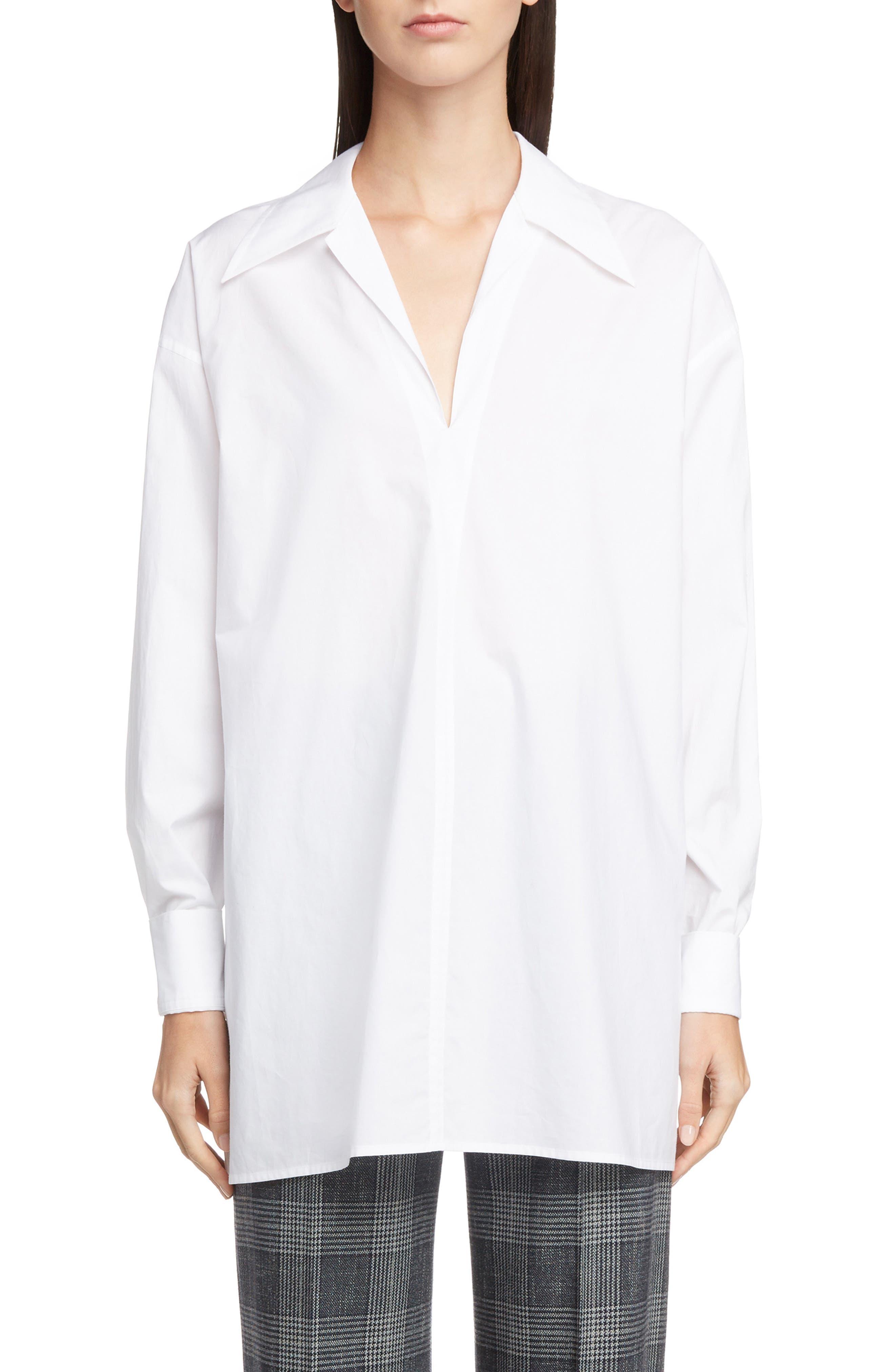 ACNE STUDIOS,                             Spread Collar Shirt,                             Main thumbnail 1, color,                             WHITE