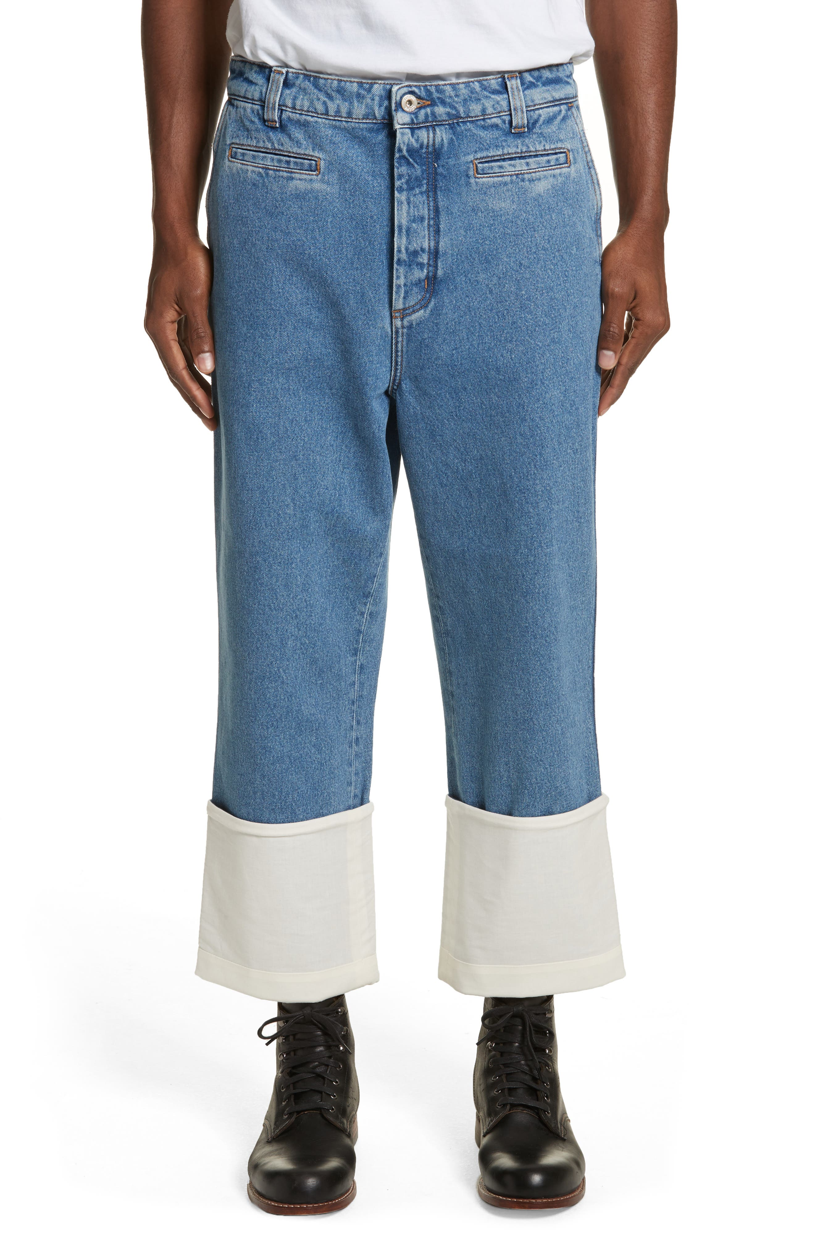 Fisherman Wide Leg Stonewash Jeans,                         Main,                         color, BLUE