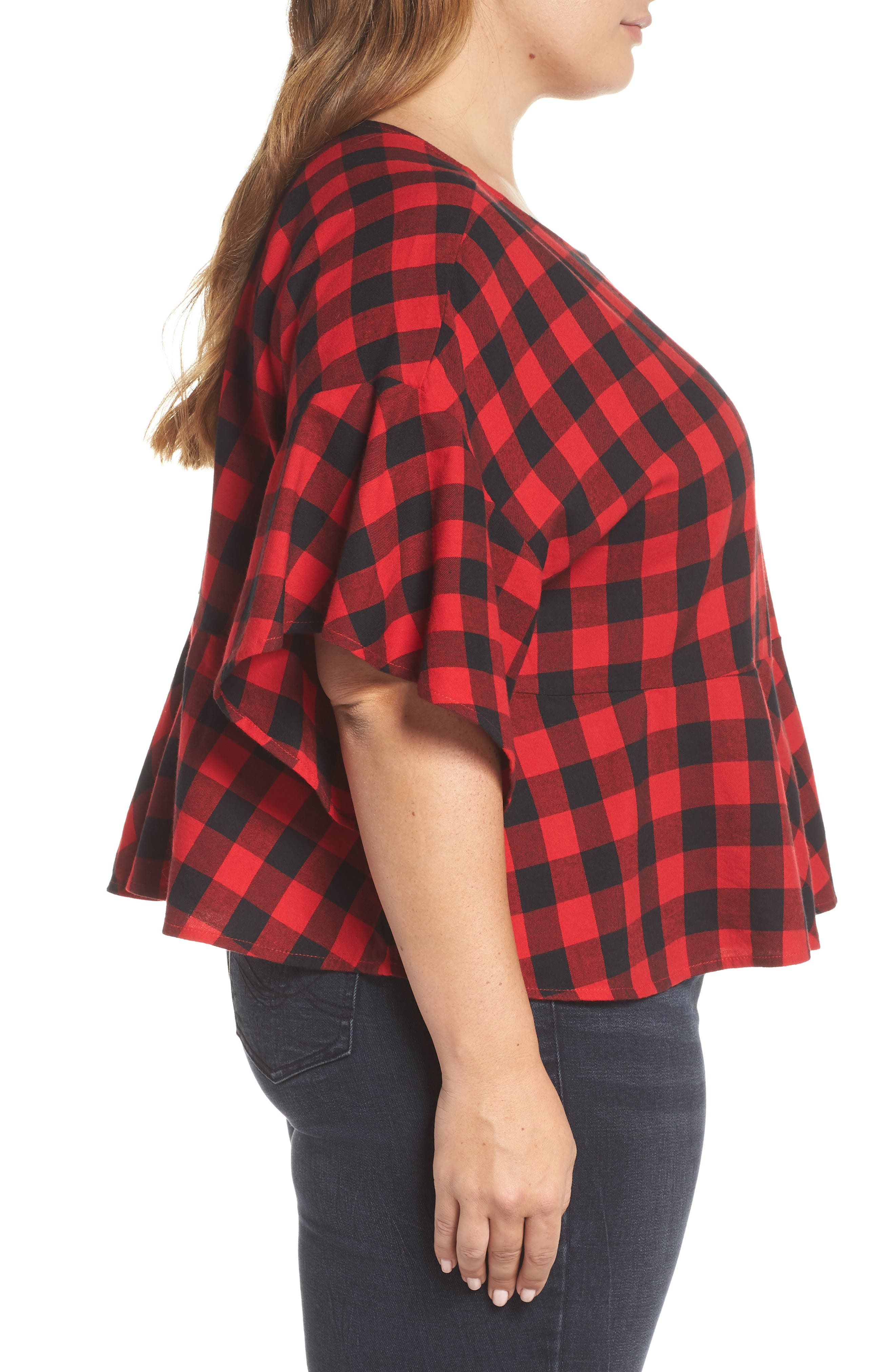 Plaid Peplum Top,                             Alternate thumbnail 3, color,                             RED CHINOISE DARCY CHECK