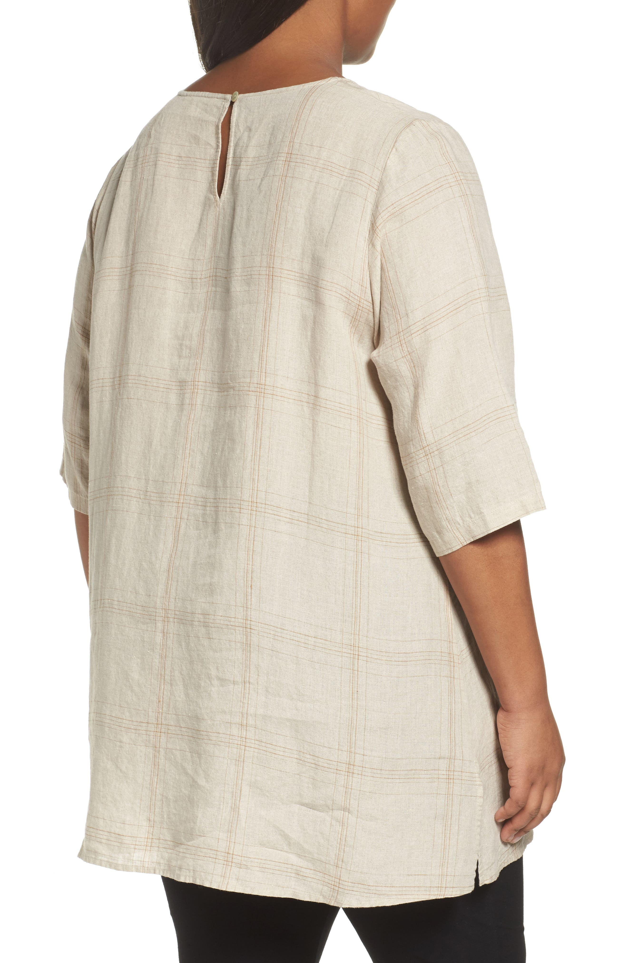 Plaid Organic Linen Tunic,                             Alternate thumbnail 4, color,