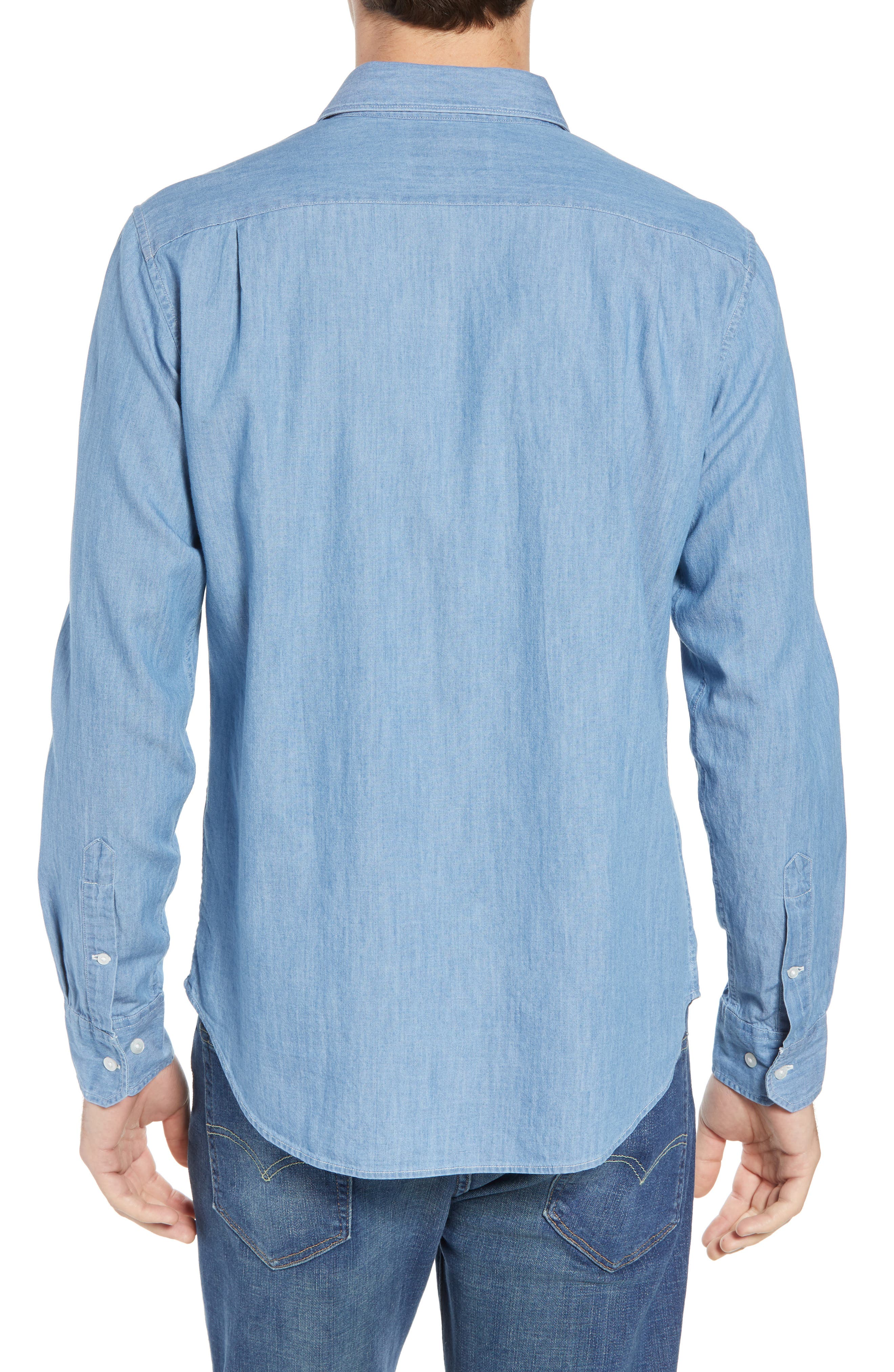 Unbutton Down 2.0 Slim Fit Chambray Sport Shirt,                             Alternate thumbnail 2, color,                             SOLID CHAMBRAY