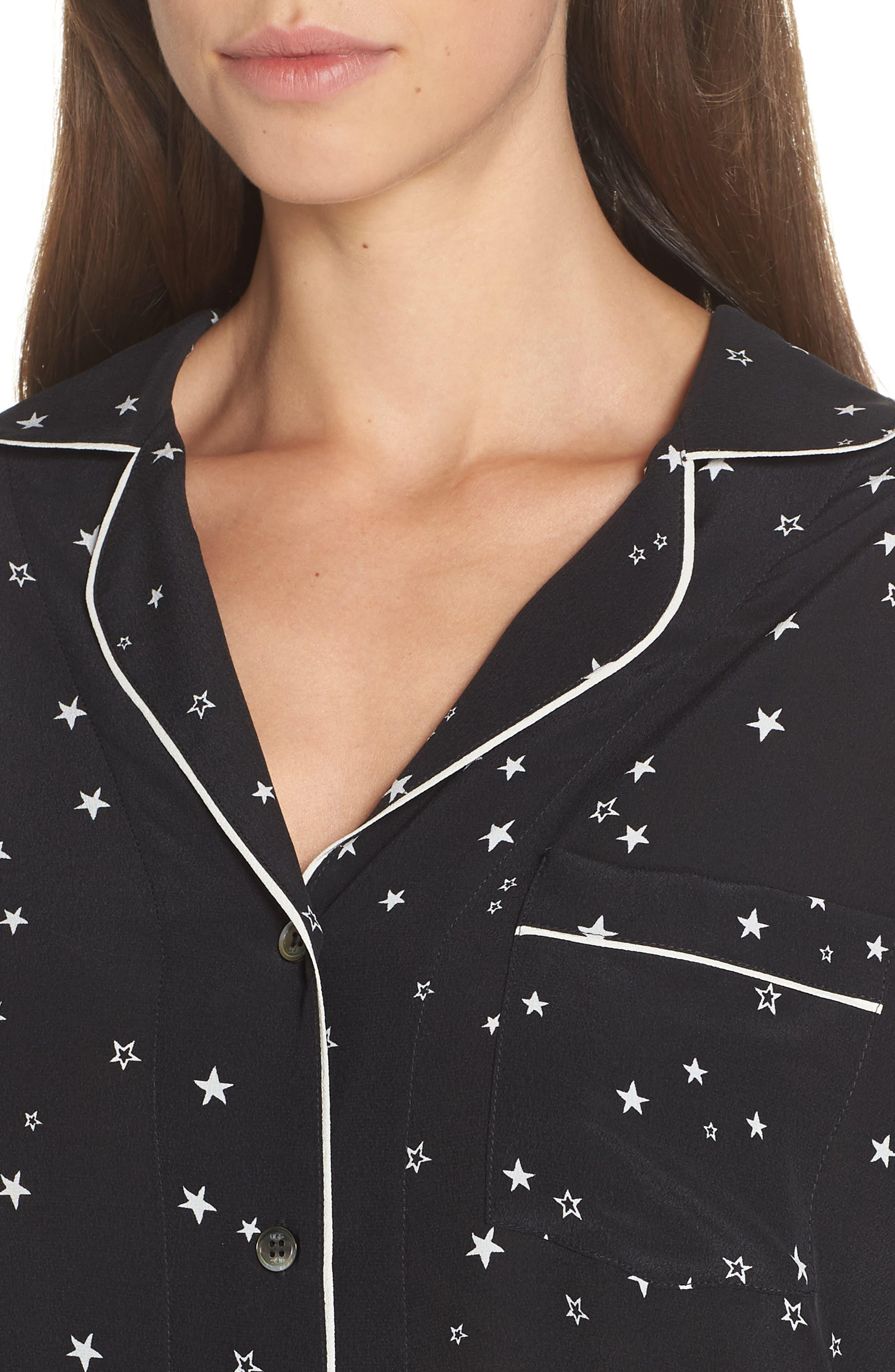 Raven Silk Pajamas,                             Alternate thumbnail 4, color,                             BLACK STARS