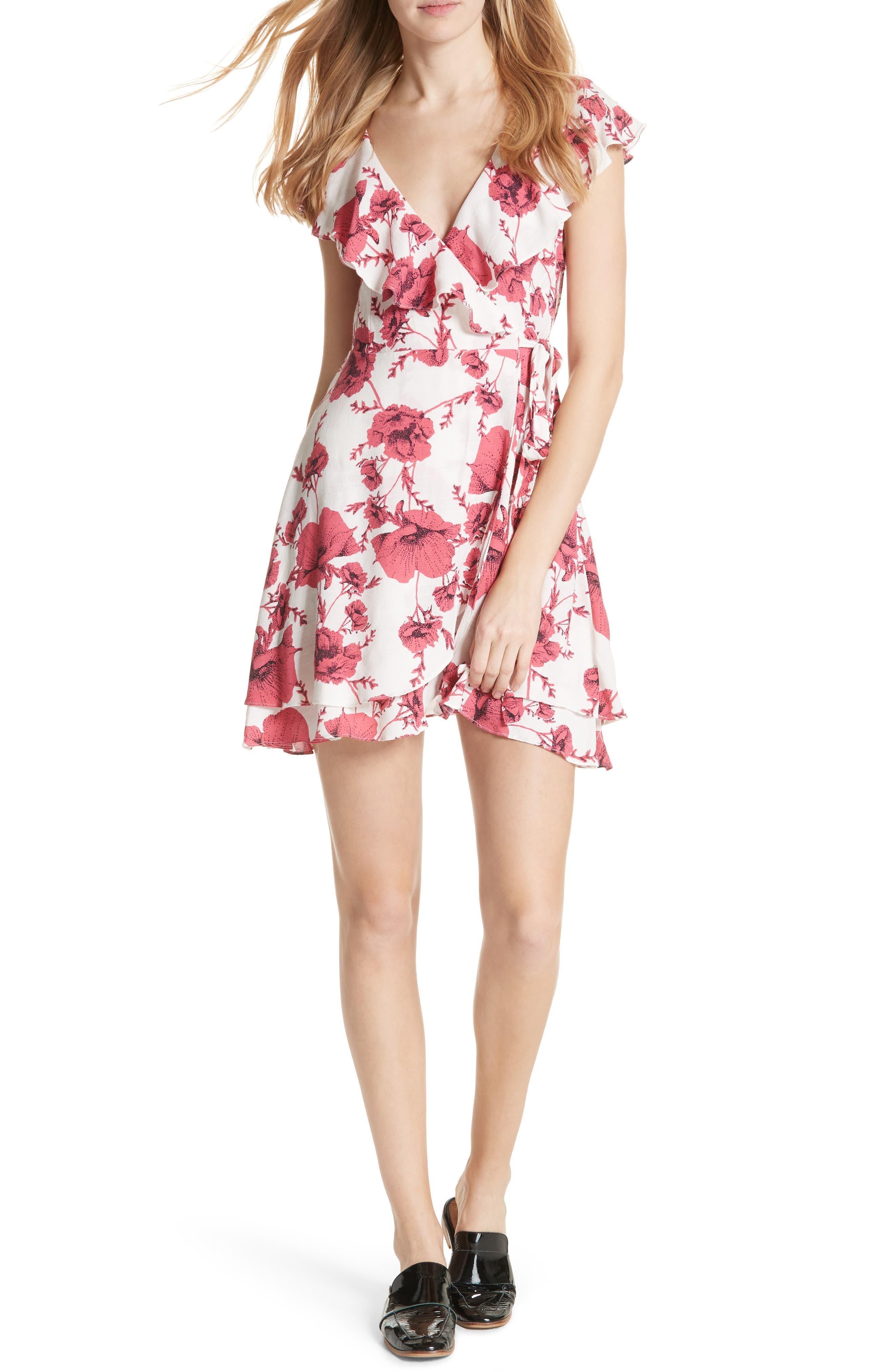 French Quarter Print Wrap Minidress,                             Main thumbnail 4, color,