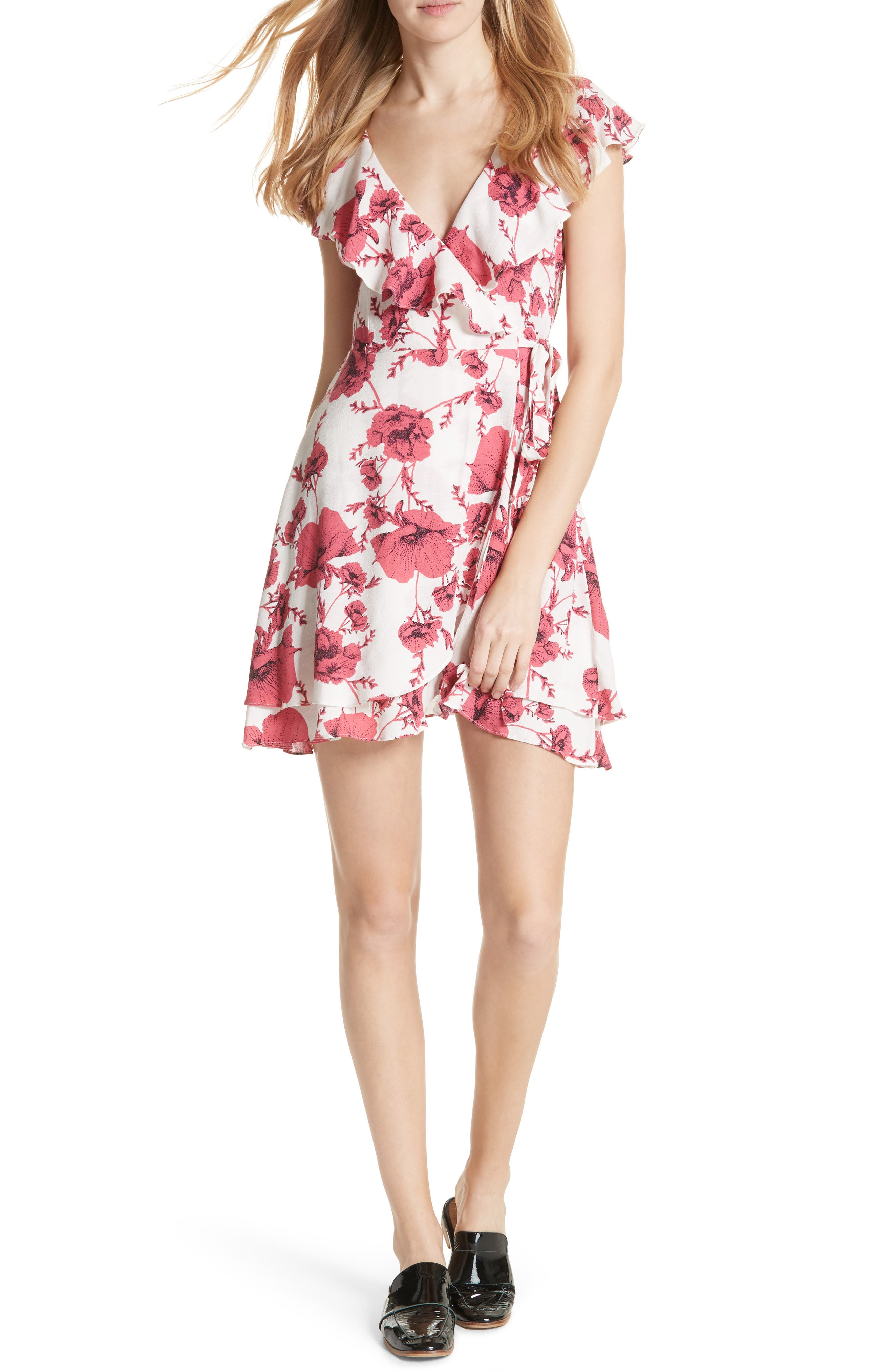 FREE PEOPLE French Quarter Print Wrap Minidress, Main, color, IVORY