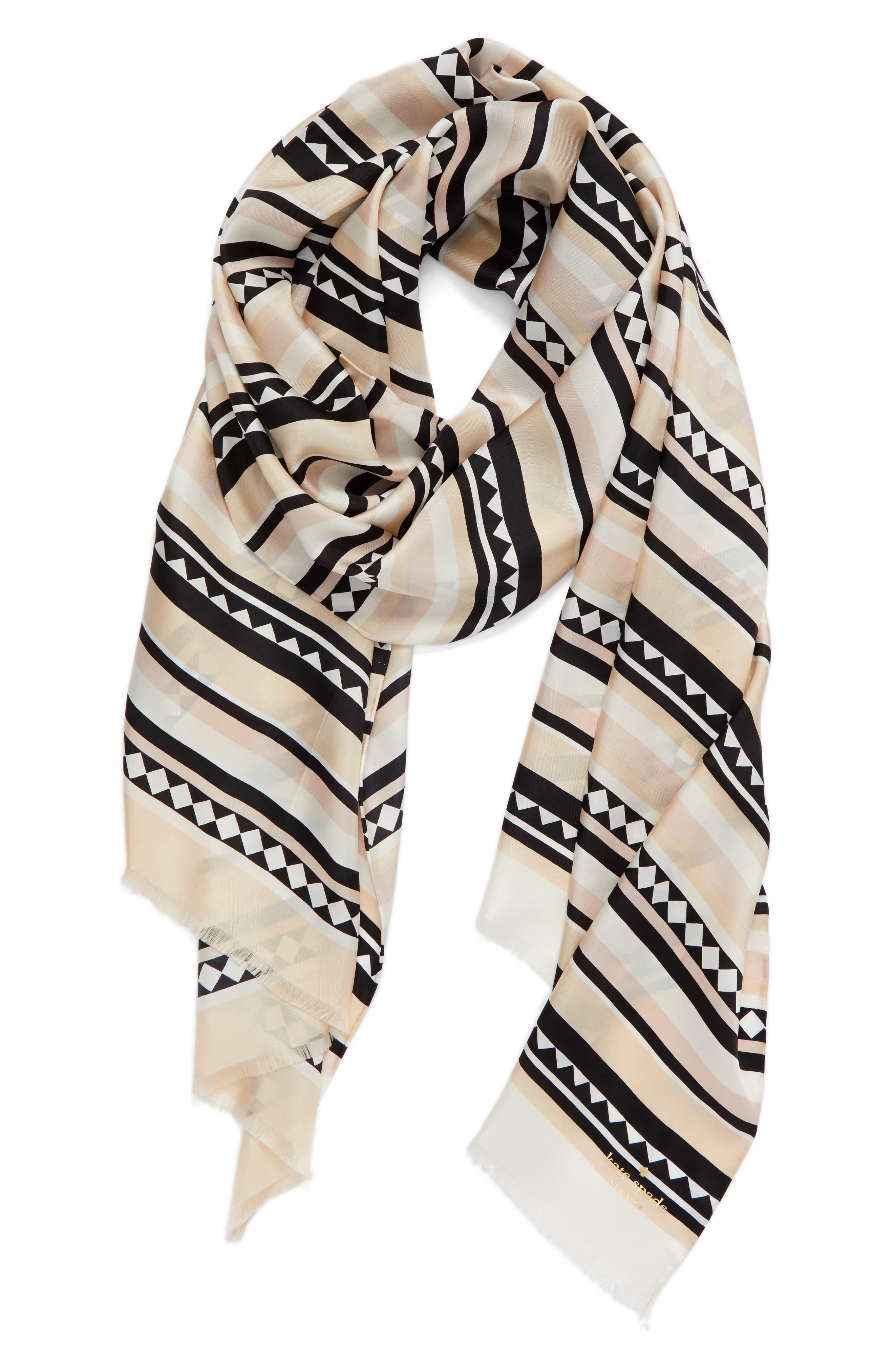 geo stripe silk scarf,                             Alternate thumbnail 2, color,                             100