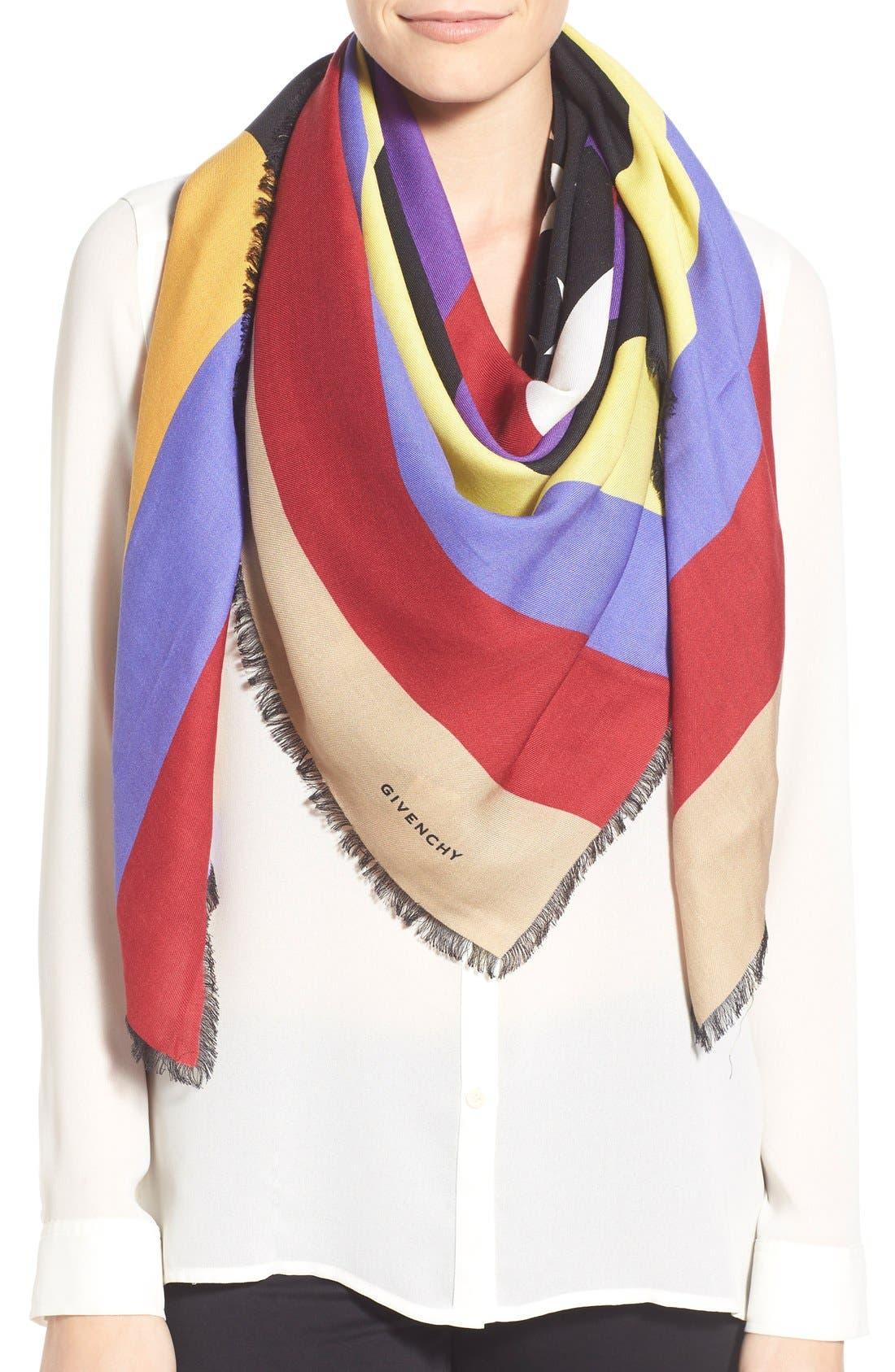 'American Flag' Wool & Silk Scarf, Main, color, 001