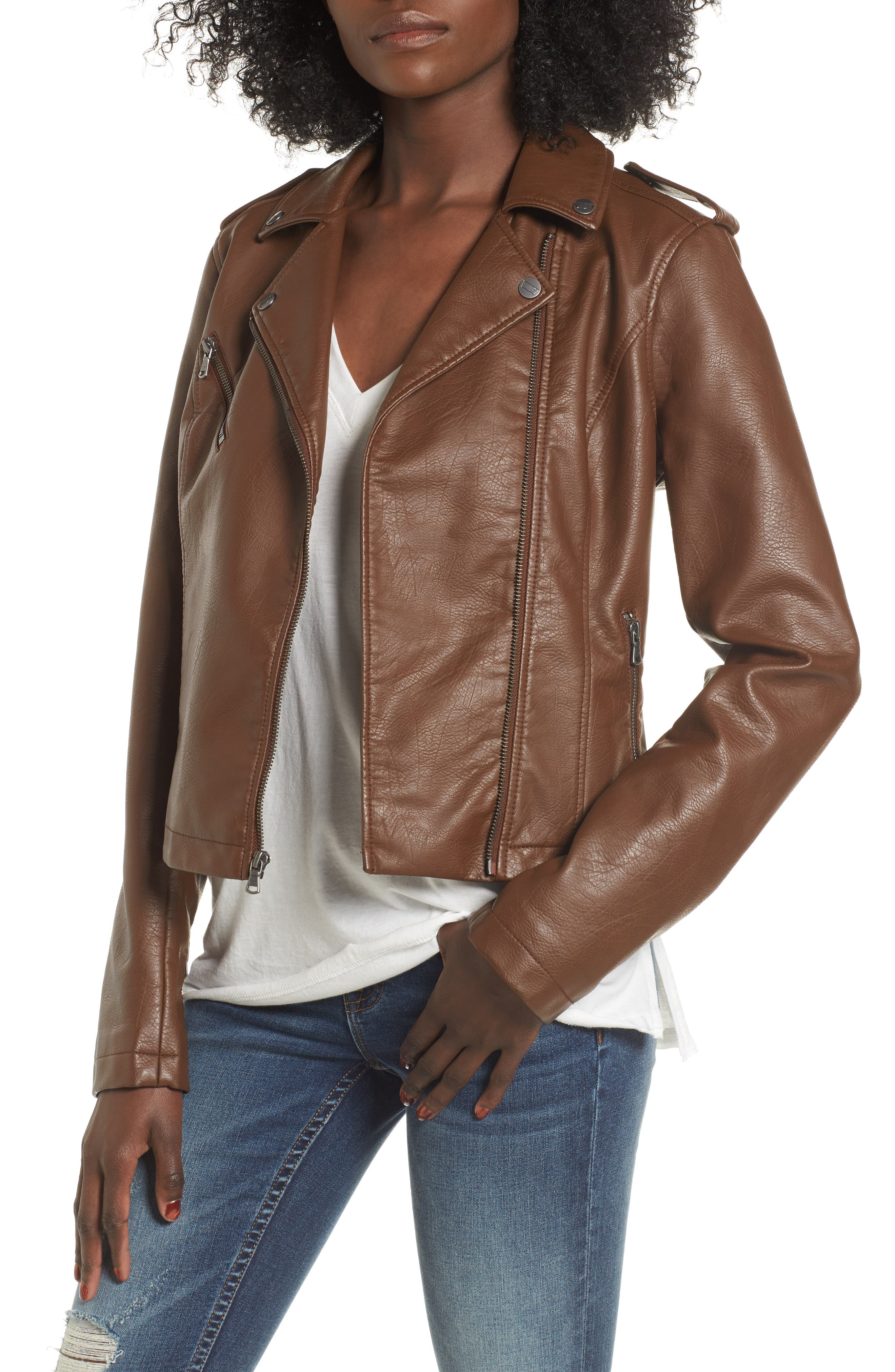 Faux Leather Moto Jacket,                             Main thumbnail 1, color,                             COGNAC